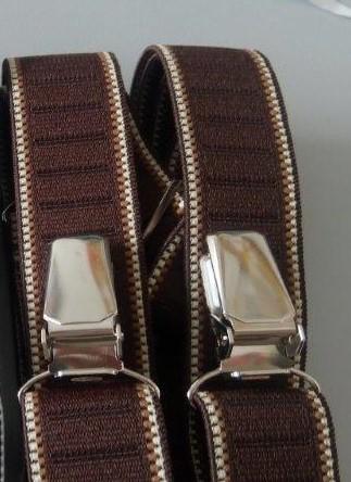 Pánské šle - kšandy 25 mm X, 115 cm tmavě hnědá