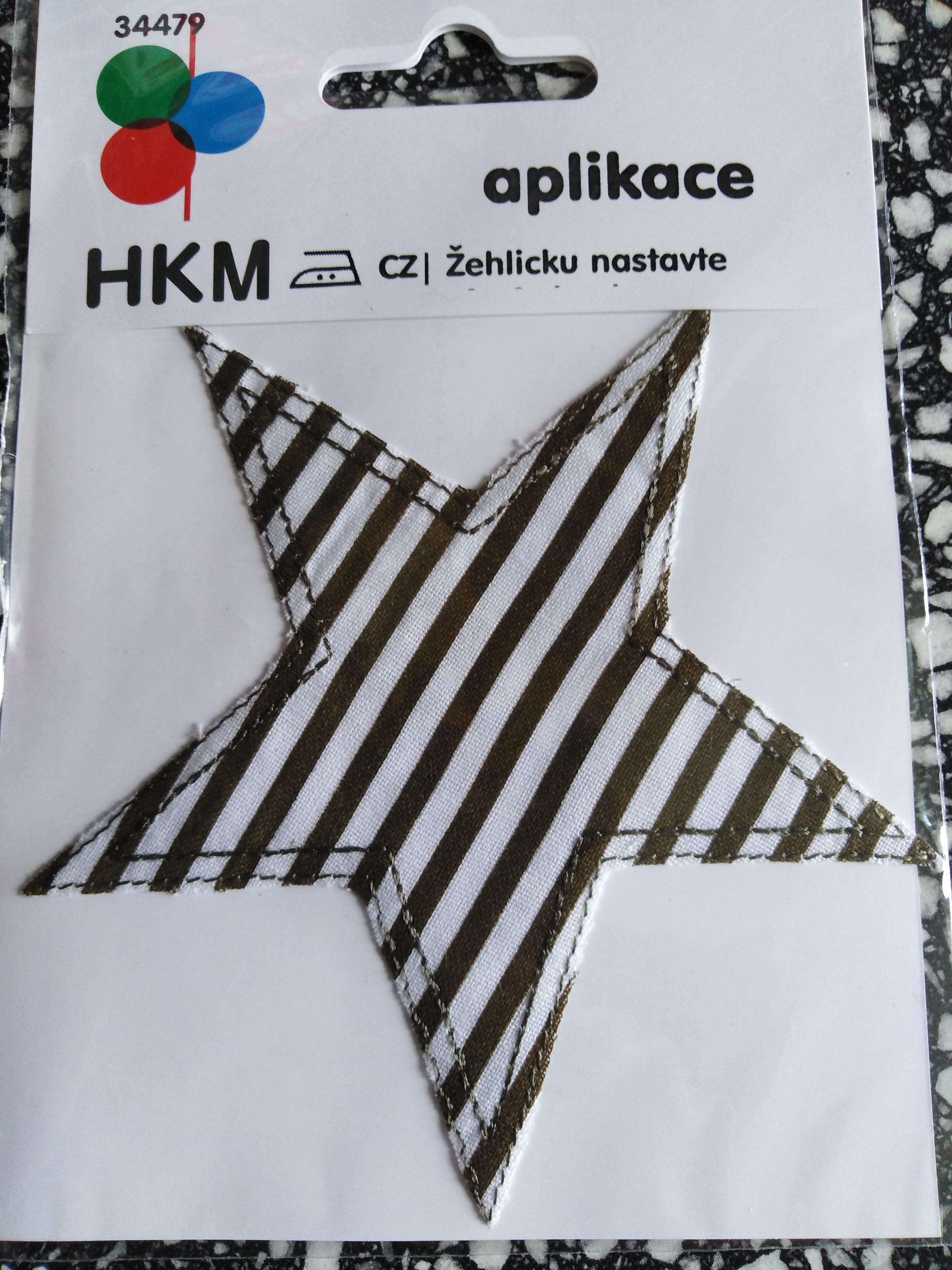 Aplikace nažehlovací hvězda šedé pruhy (khaki)