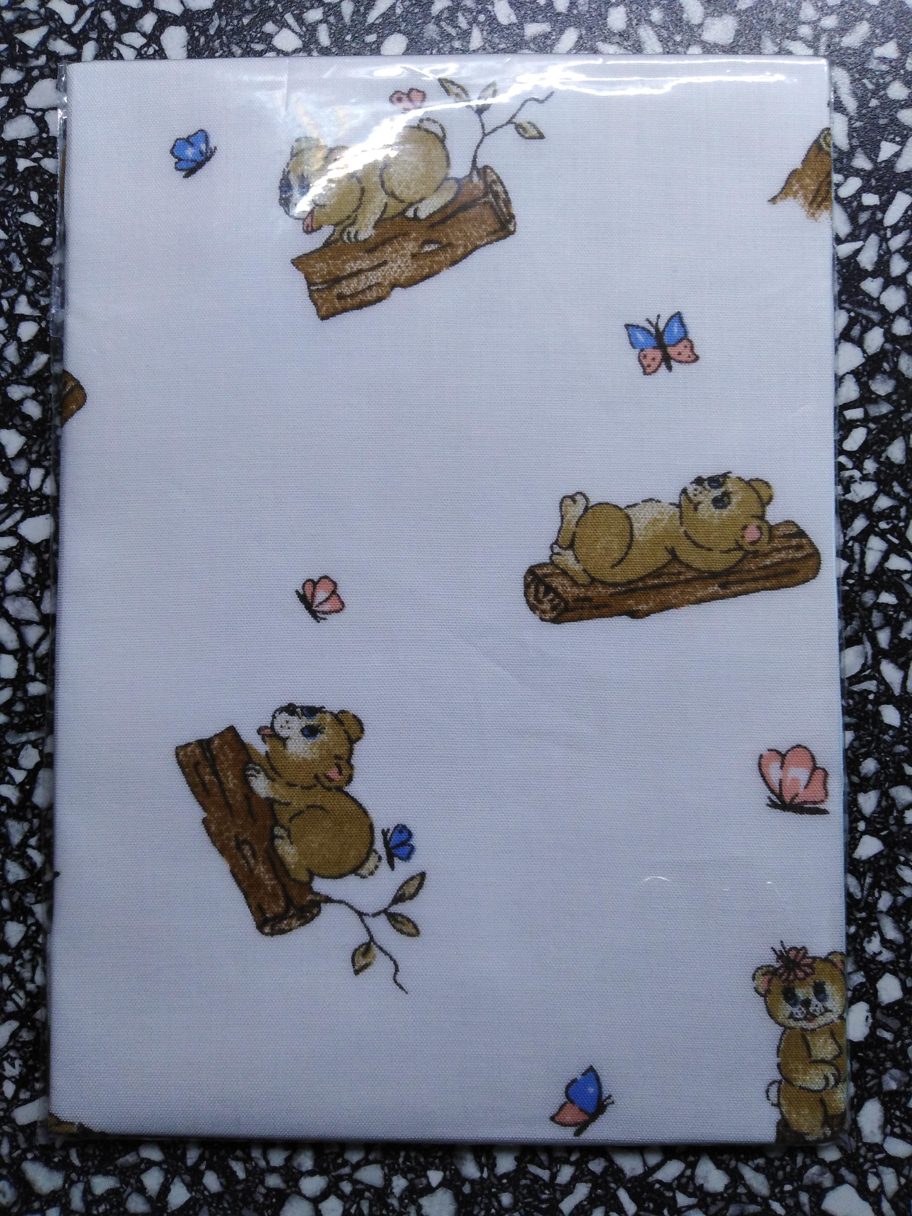 Kapesník dětský tisk - balení 3 ks Medvídek bílý