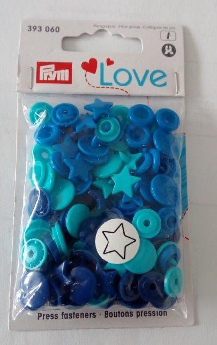 Plastové patentky hvězdičky modrotyrkysové