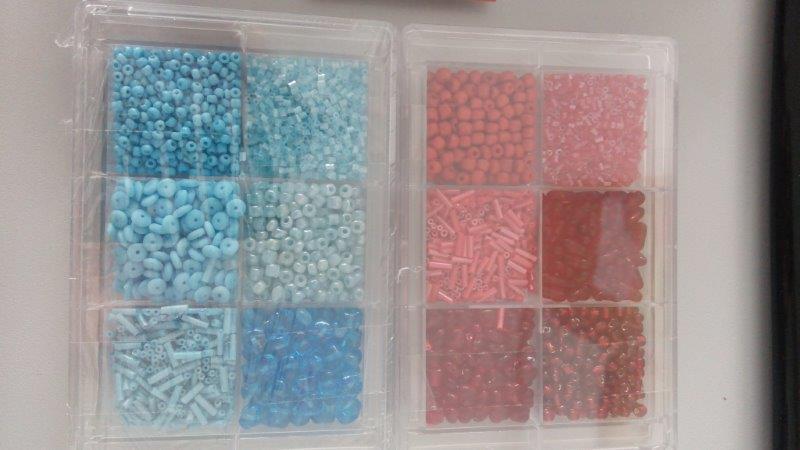 Skleněné perličky - korálky 80 g modré