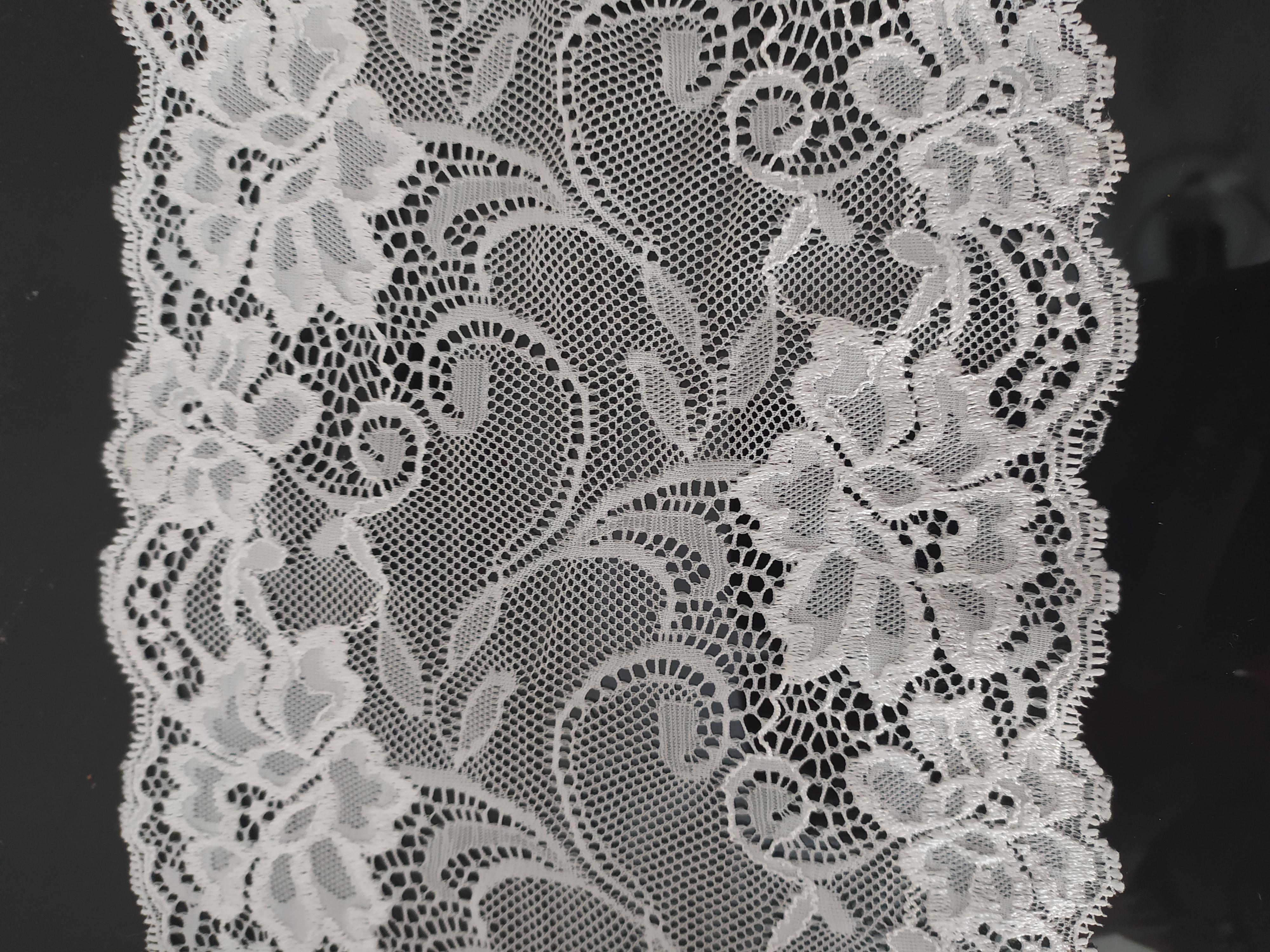 Krajka elastická dekorační 180 mm krémově bílá