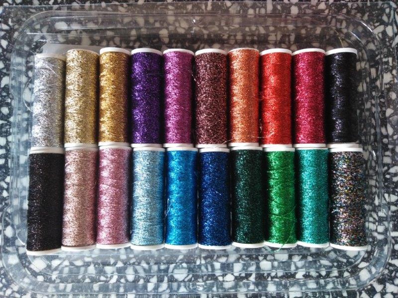 Nitě Metalux 20 cívek mix barev - efektová nit