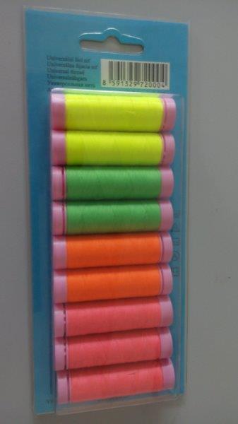 Nitě polyesterové 9 cívek reflexní mix