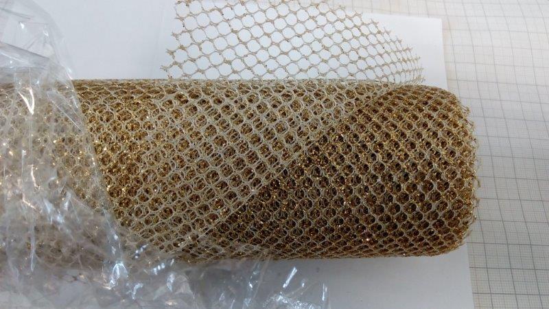 Tkanina metalická mřížka 39 cm zlatá