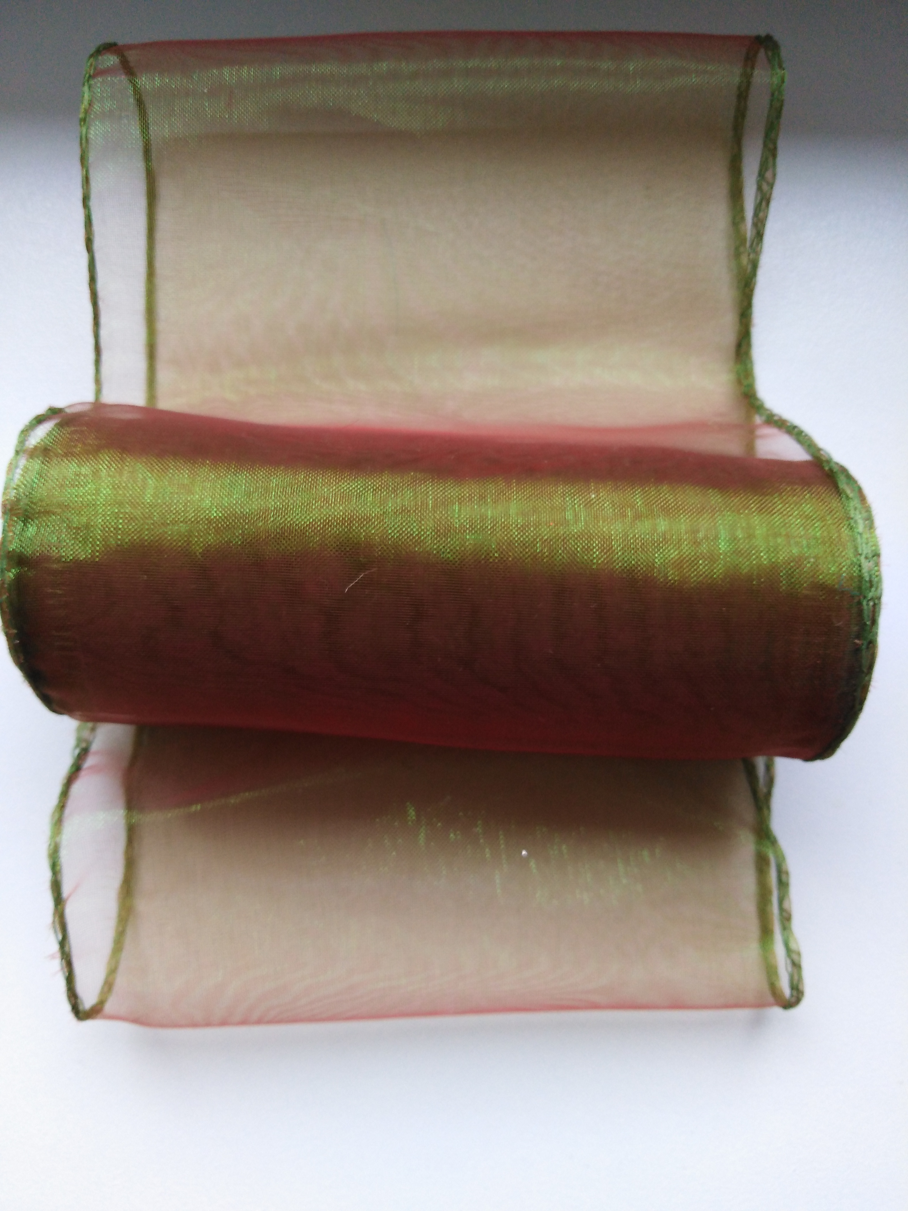 Organza 12 cm obšitá olivová zeleň