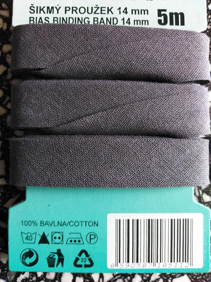 Šikmý proužek 14 mm bavlněný založený tmavě šedý