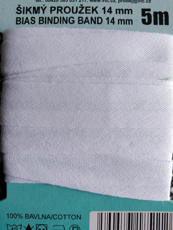 Šikmý proužek 14 mm bavlněný založený bílý