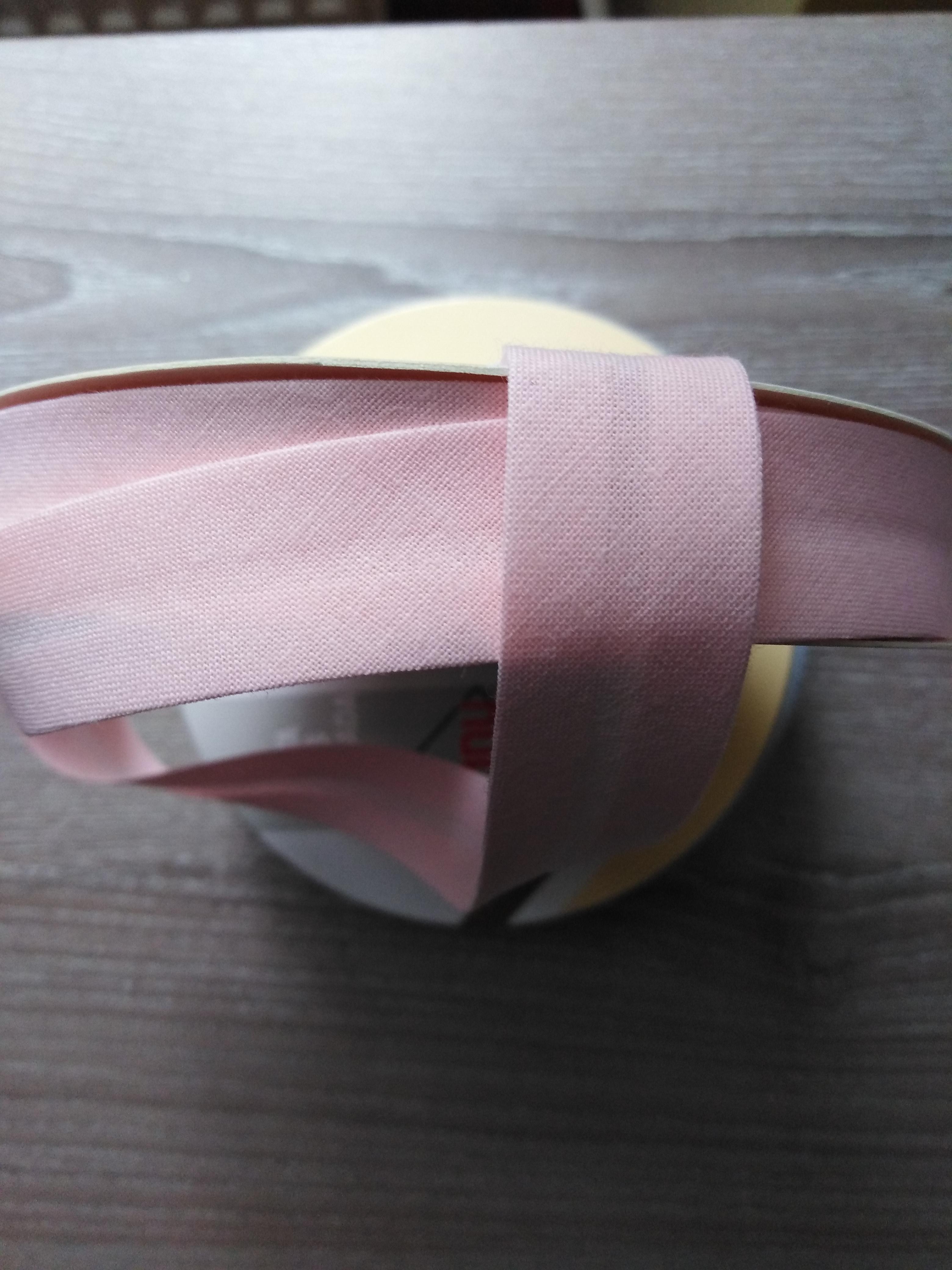 Šikmý proužek 18 mm bavlněný světle růžový