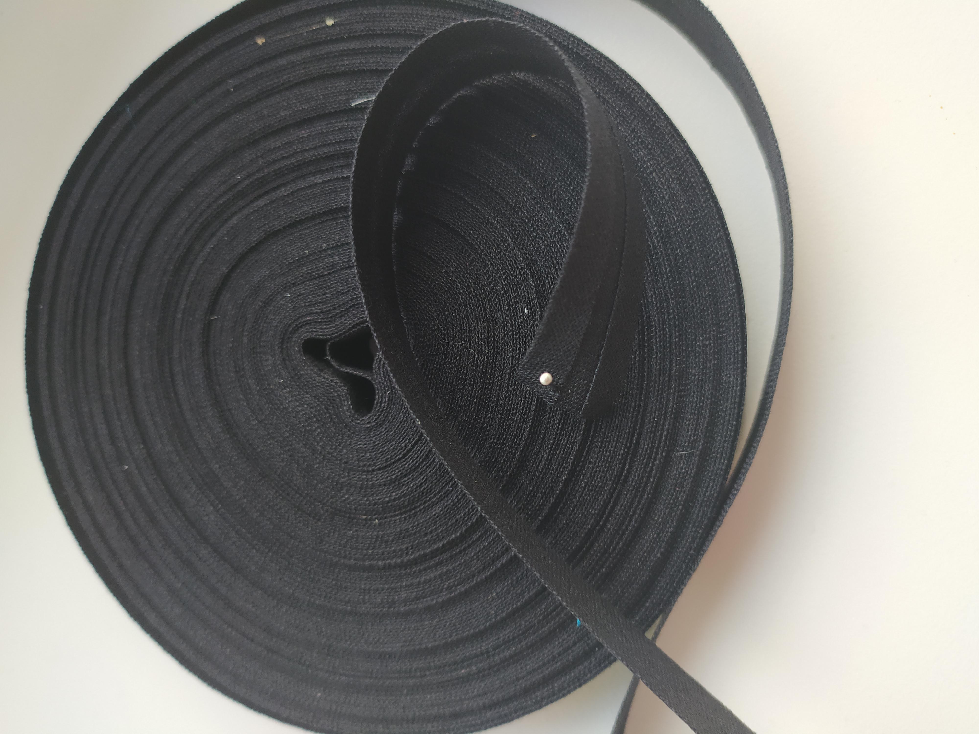 Šikmý proužek 14 mm bavlněný založený černý