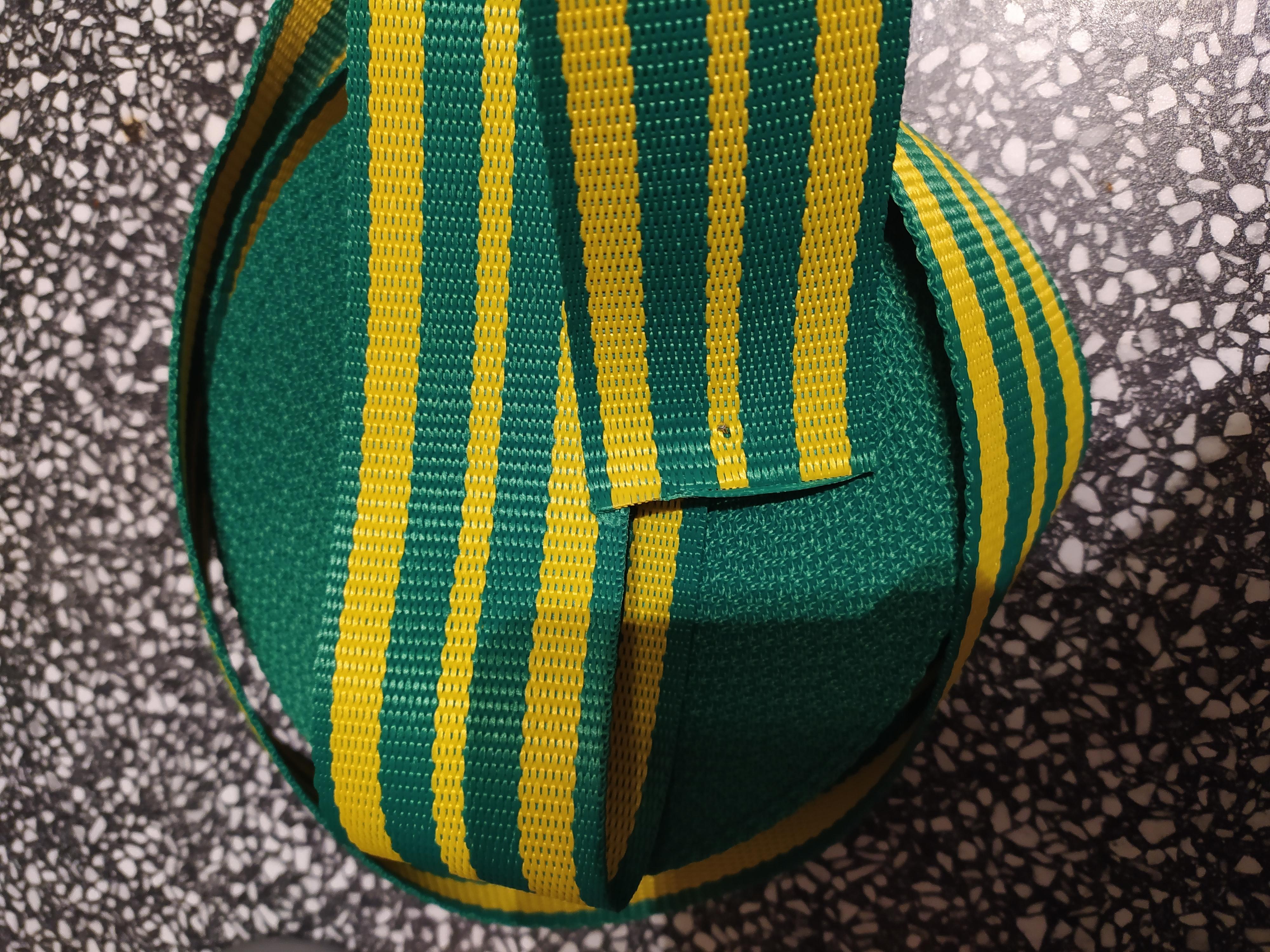 Popruh polypropylenový 50 mm zelená + žlutá