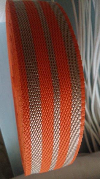 Popruh polypropylenový 50 mm béžová+oranžová