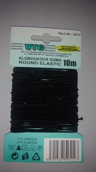 Klobouková guma 1,2 mm - karta 5 m černá