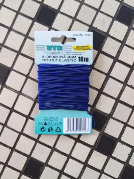 Klobouková guma 1,2 mm - karta 10 m sytě modrá