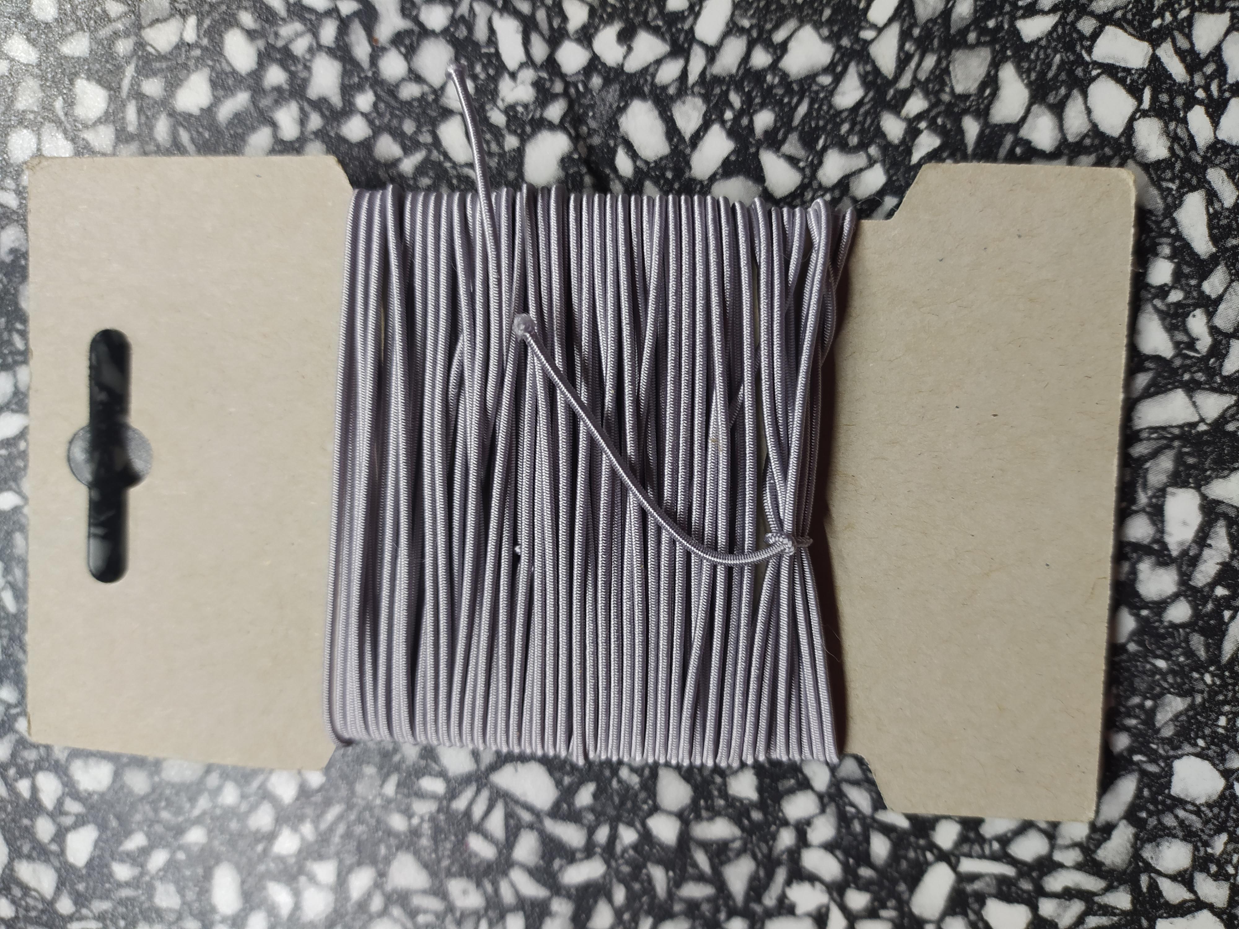 Klobouková guma 1,2 mm - karta 10 m světle šedá