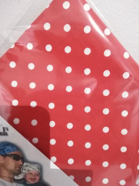 Bavlněný šátek 65 x 65 cm, červeno bílý puntík 5-7 mm