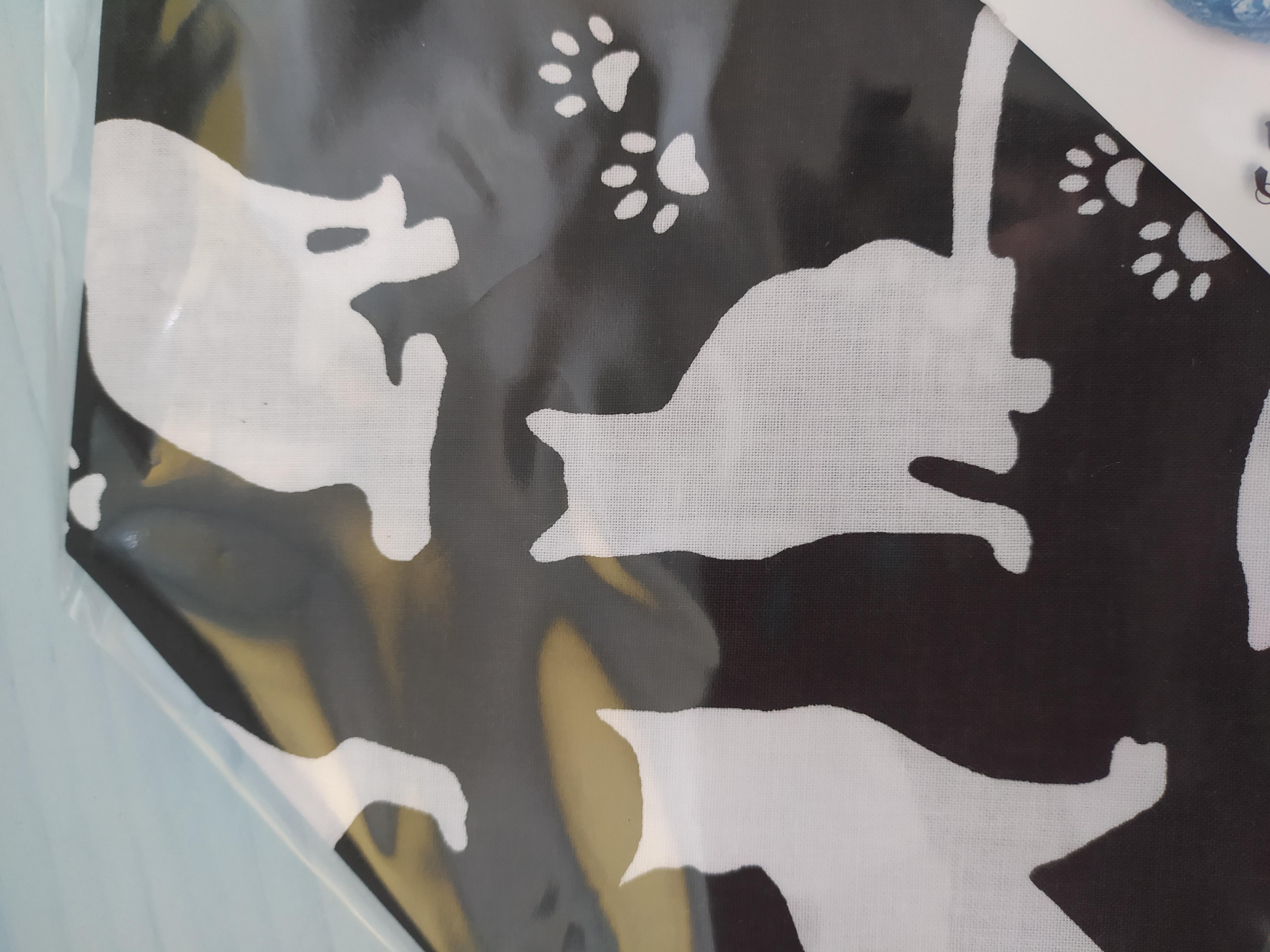 Bavlněný šátek 65 x 65 cm, siluety kočky