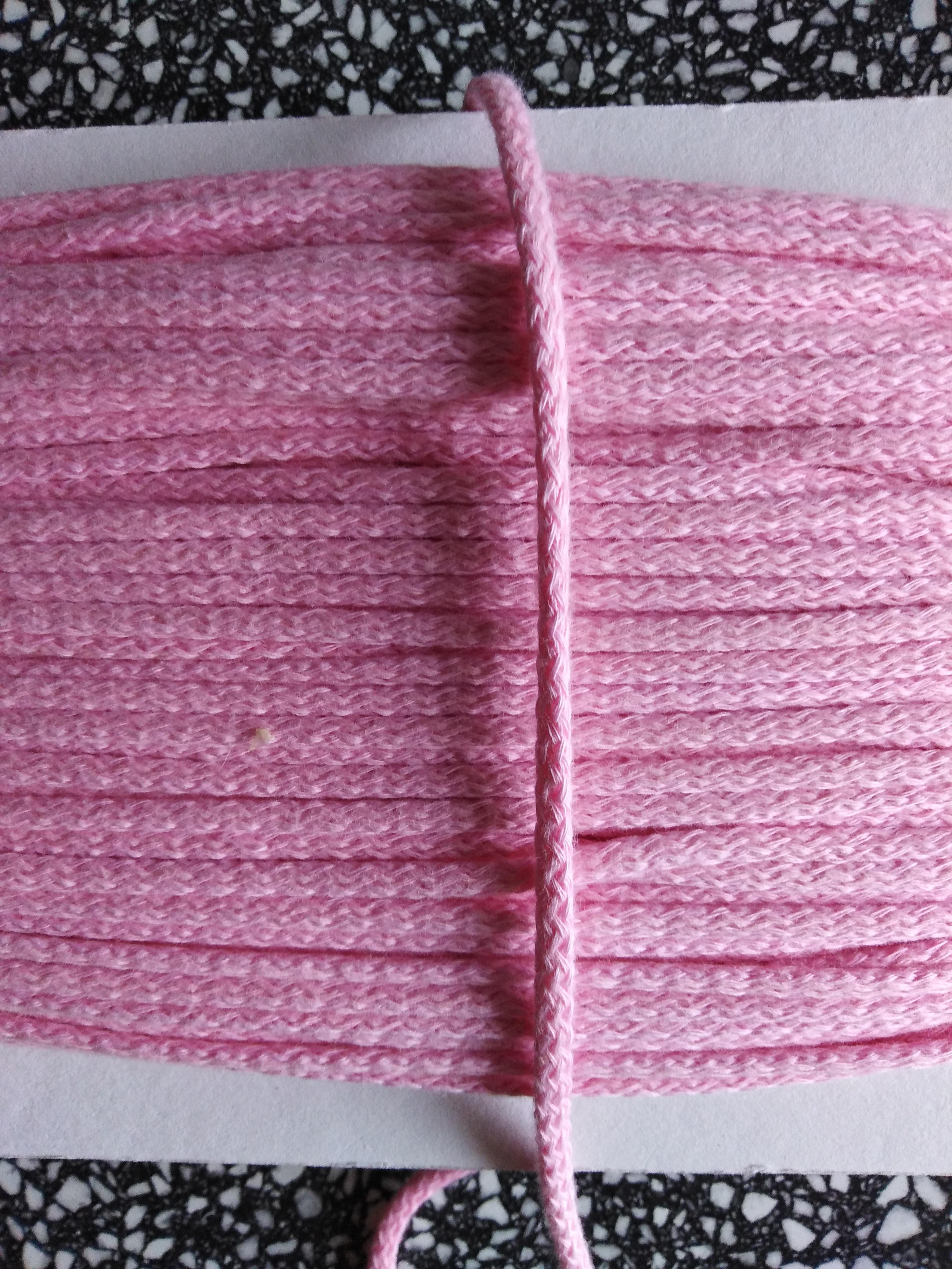 Šňůra oděvní bavlněná 4 mm růžová