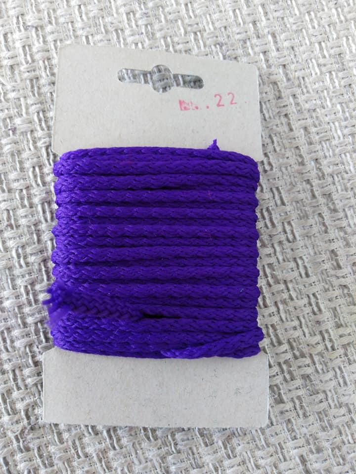 Šňůra oděvní polyesterová 4 mm karta 5 m modrofialová