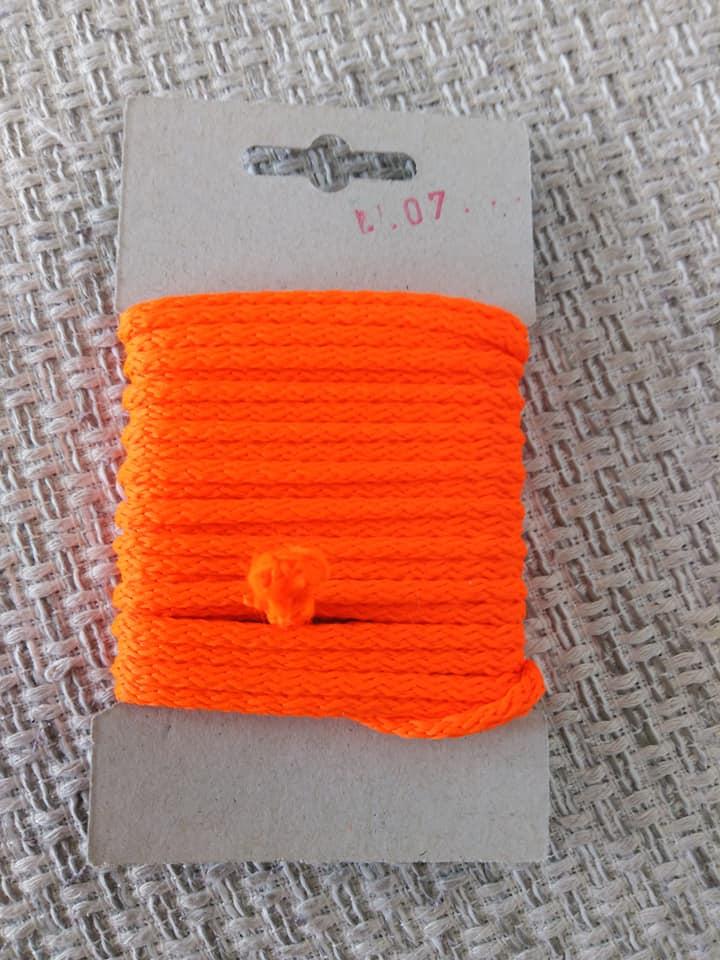 Šňůra oděvní polyesterová 4 mm karta 5 m reflexní oranžová