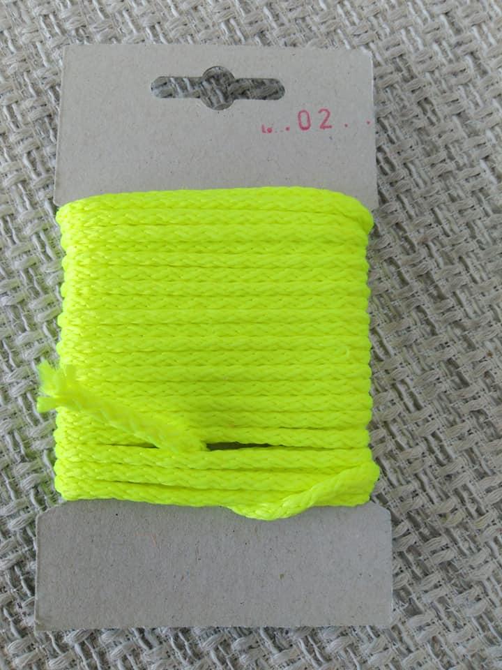 Šňůra oděvní polyesterová 4 mm karta 5 m reflexní žlutá
