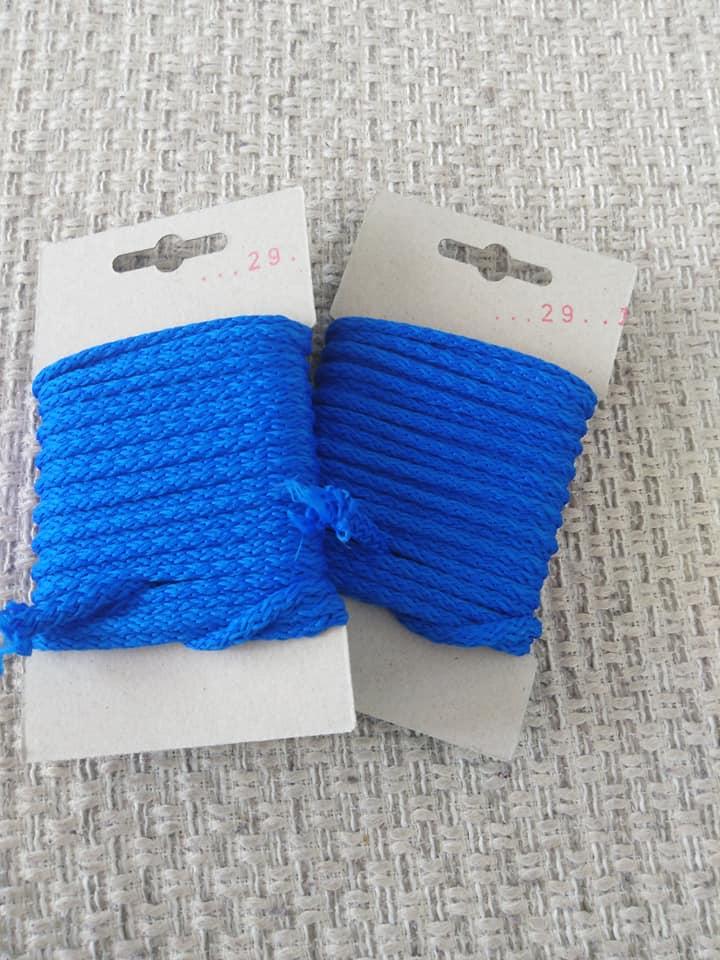Šňůra oděvní polyesterová 4 mm karta 5 m letní modř