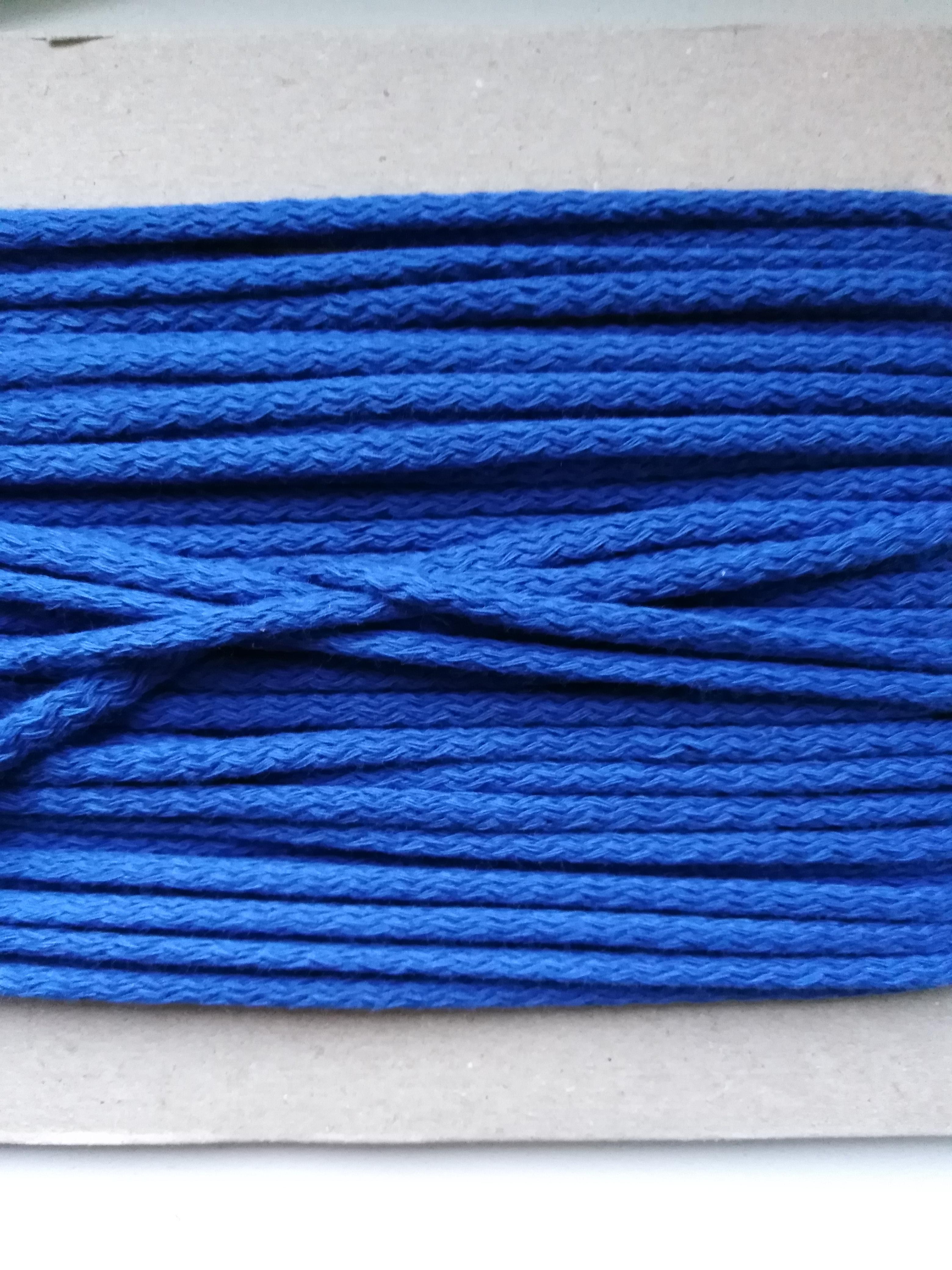 Šňůra oděvní bavlněná 4 mm modrá
