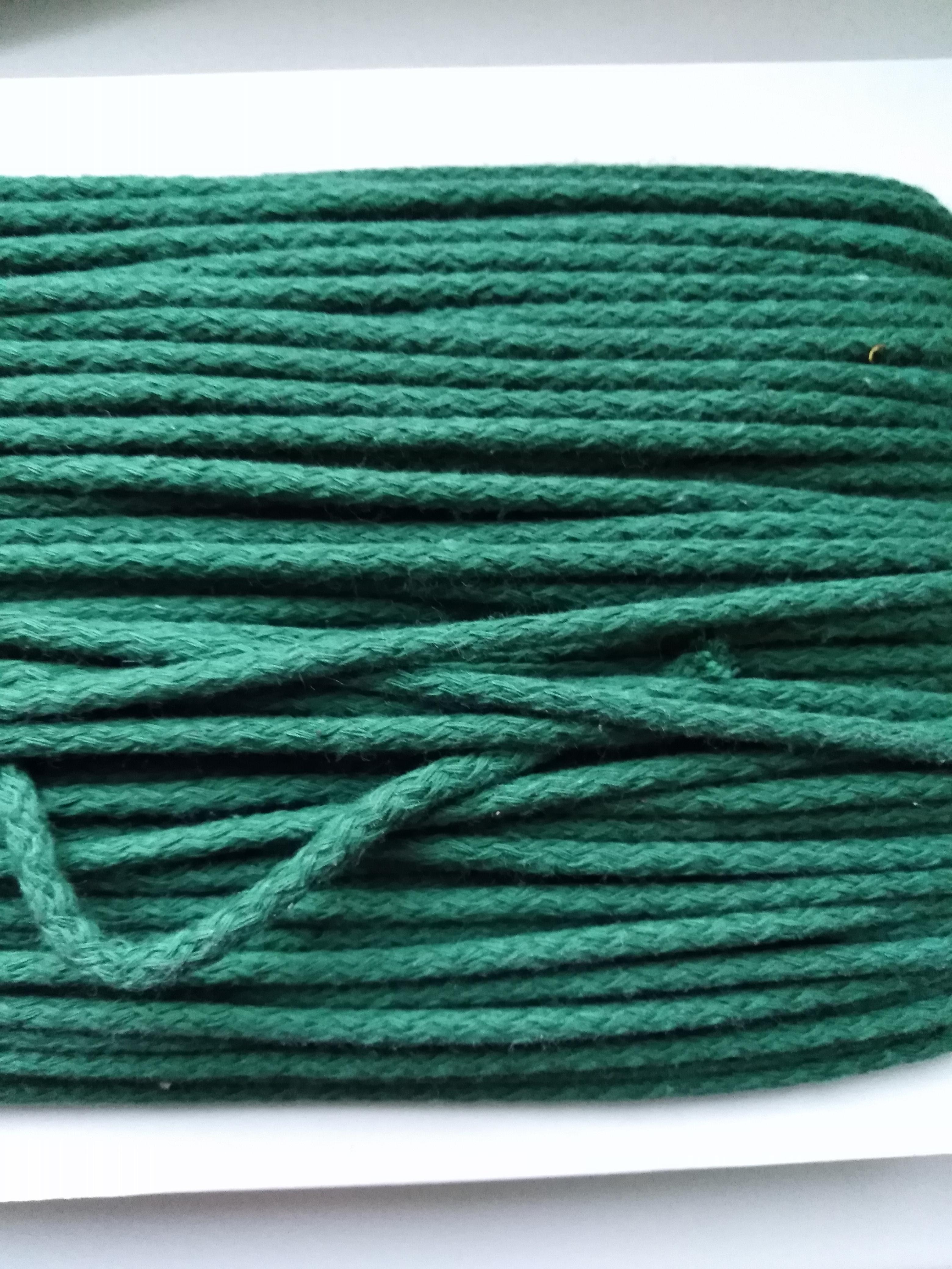 Šňůra oděvní bavlněná 4 mm zelená