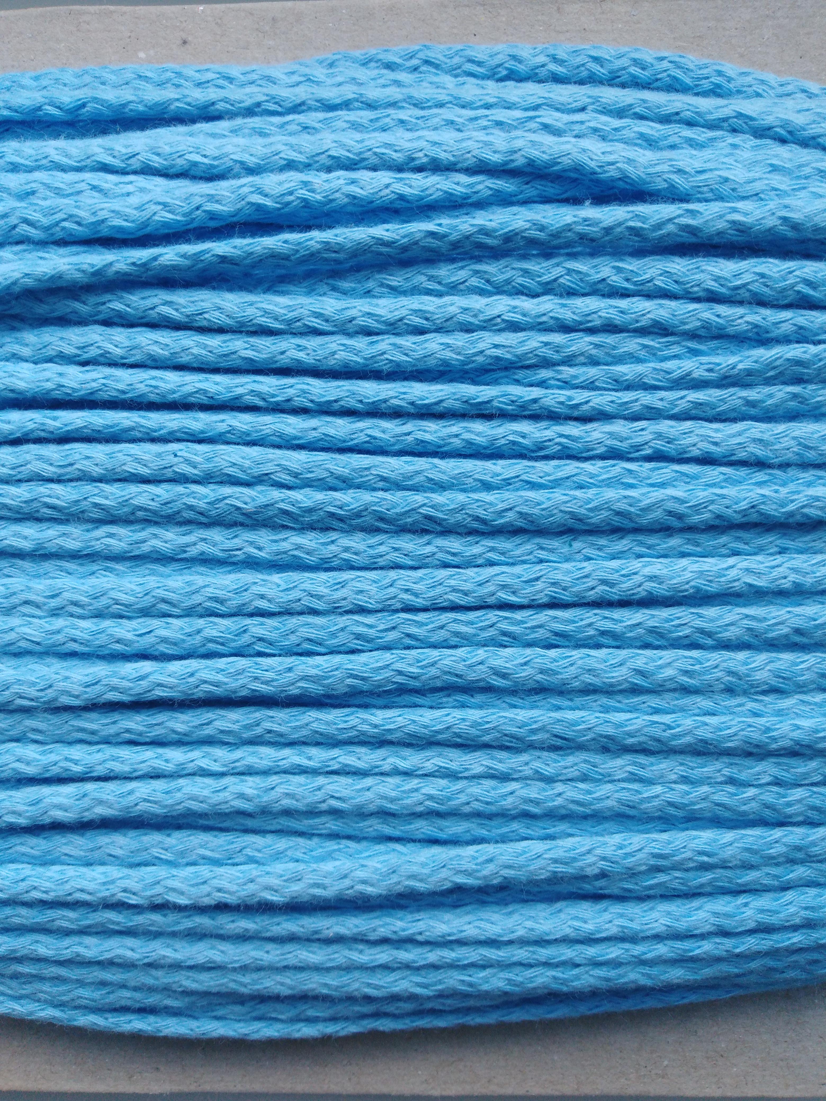 Šňůra oděvní bavlněná 4 mm světle modrá