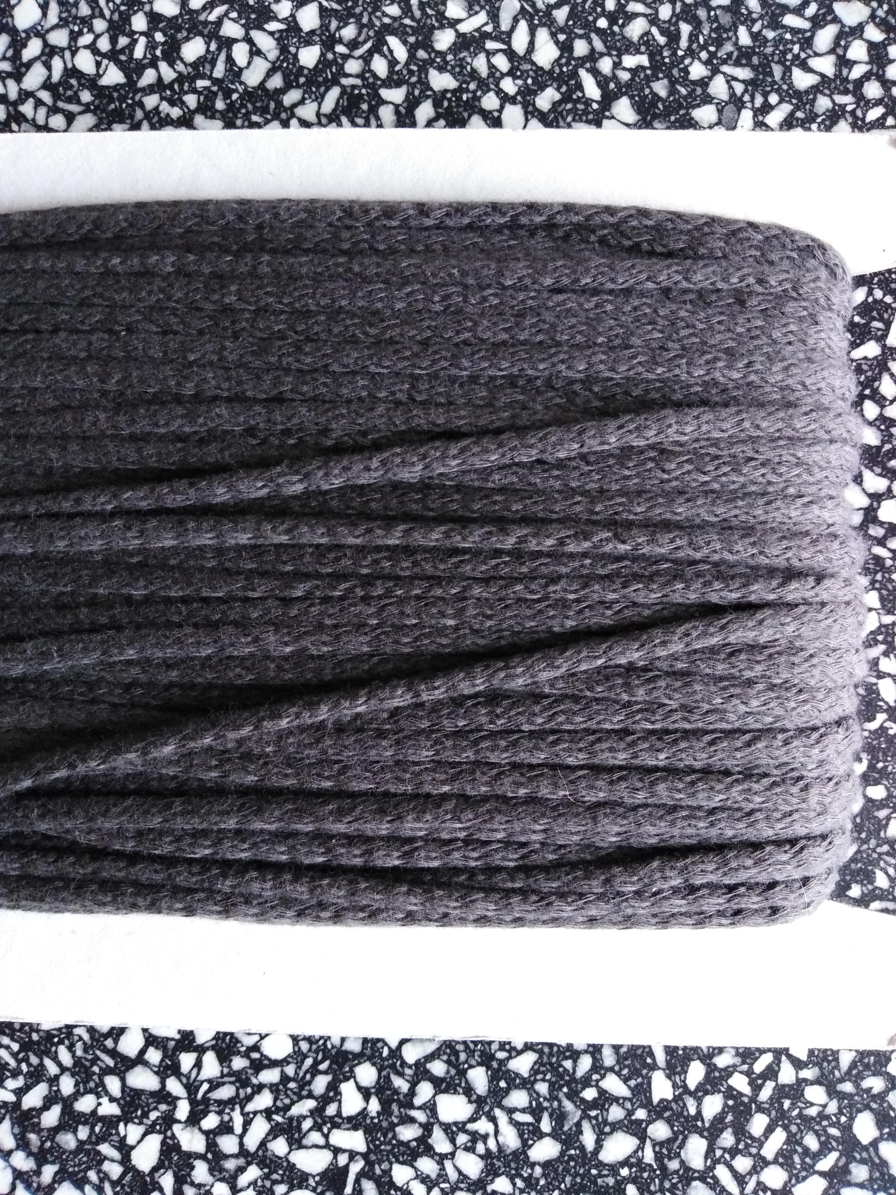 Šňůra oděvní bavlněná 4 mm tmavě šedá