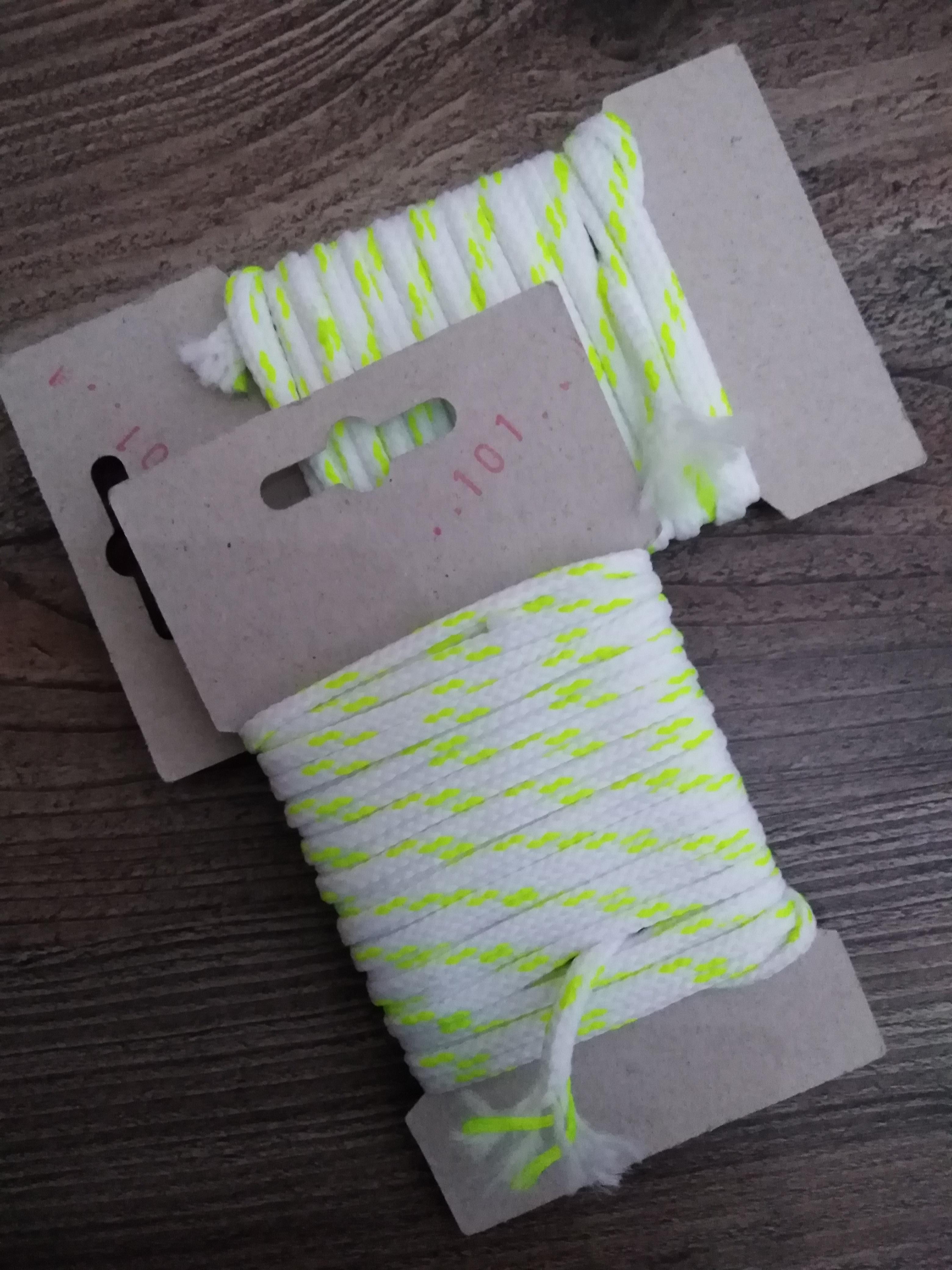 Šňůra oděvní polyesterová 4 mm karta 5 m bílá-reflexní žlutá
