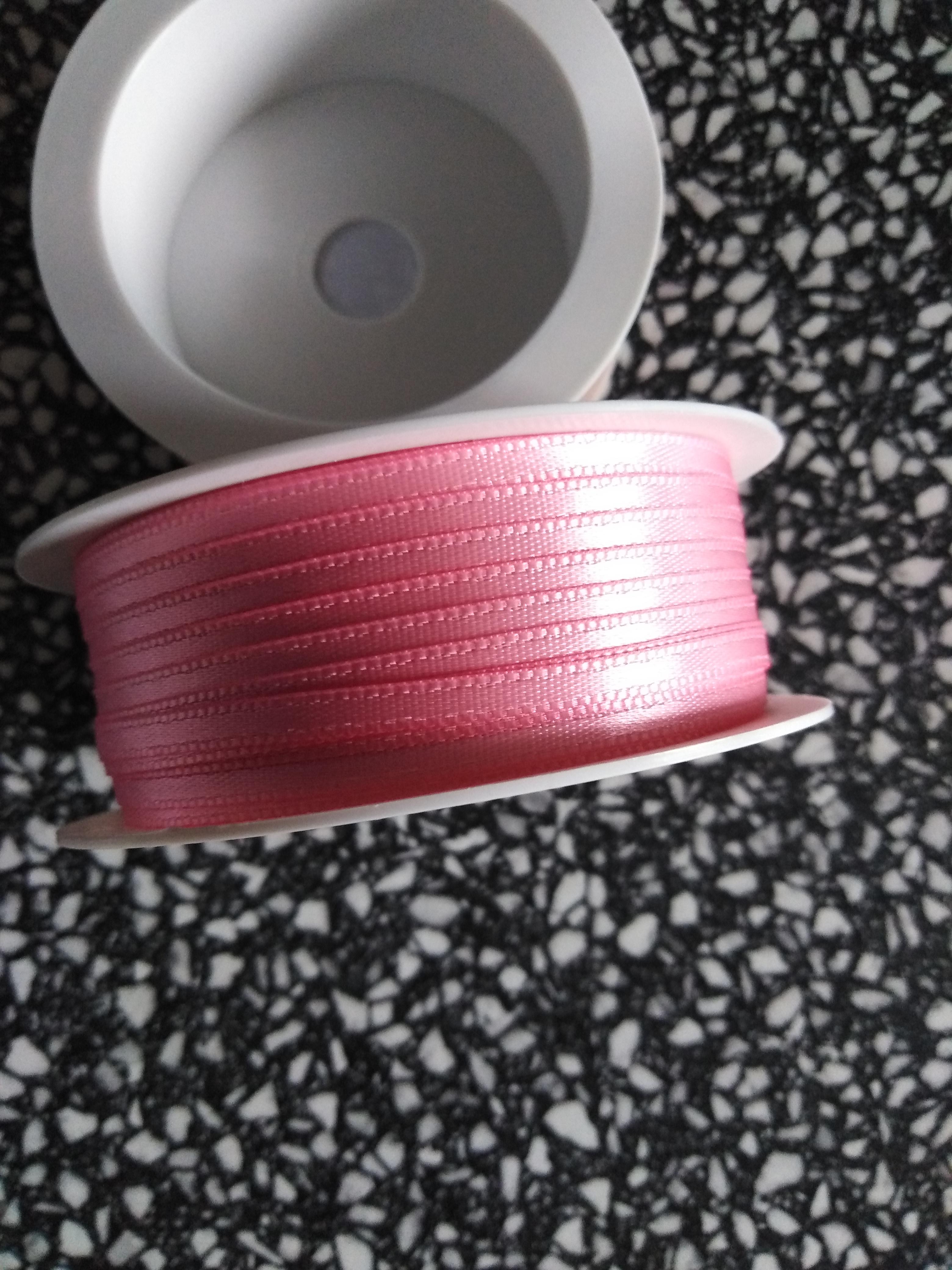 Stuha saténová 3 mm světle růžová