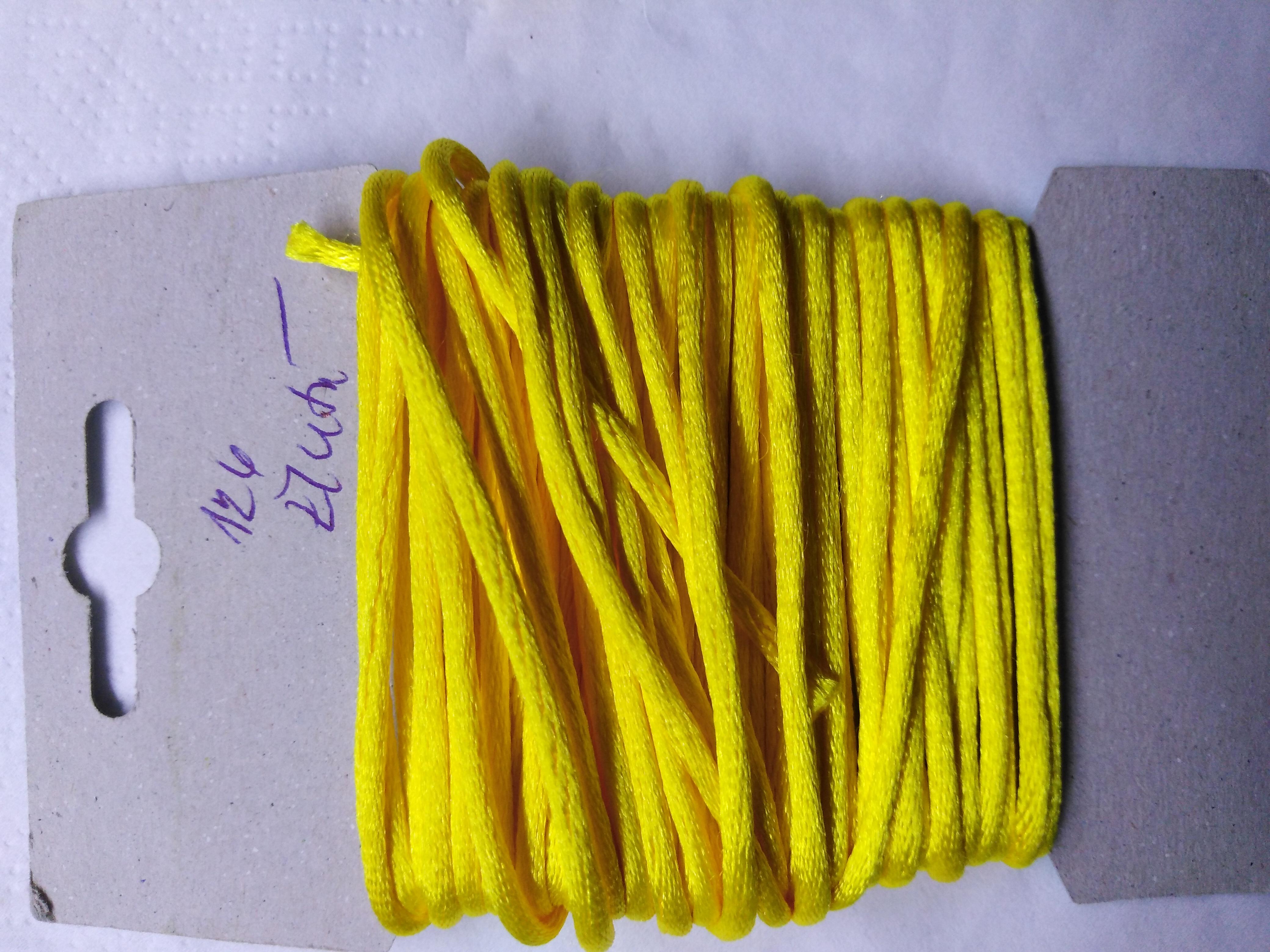 Šňůrka atlasová 2 mm žlutá