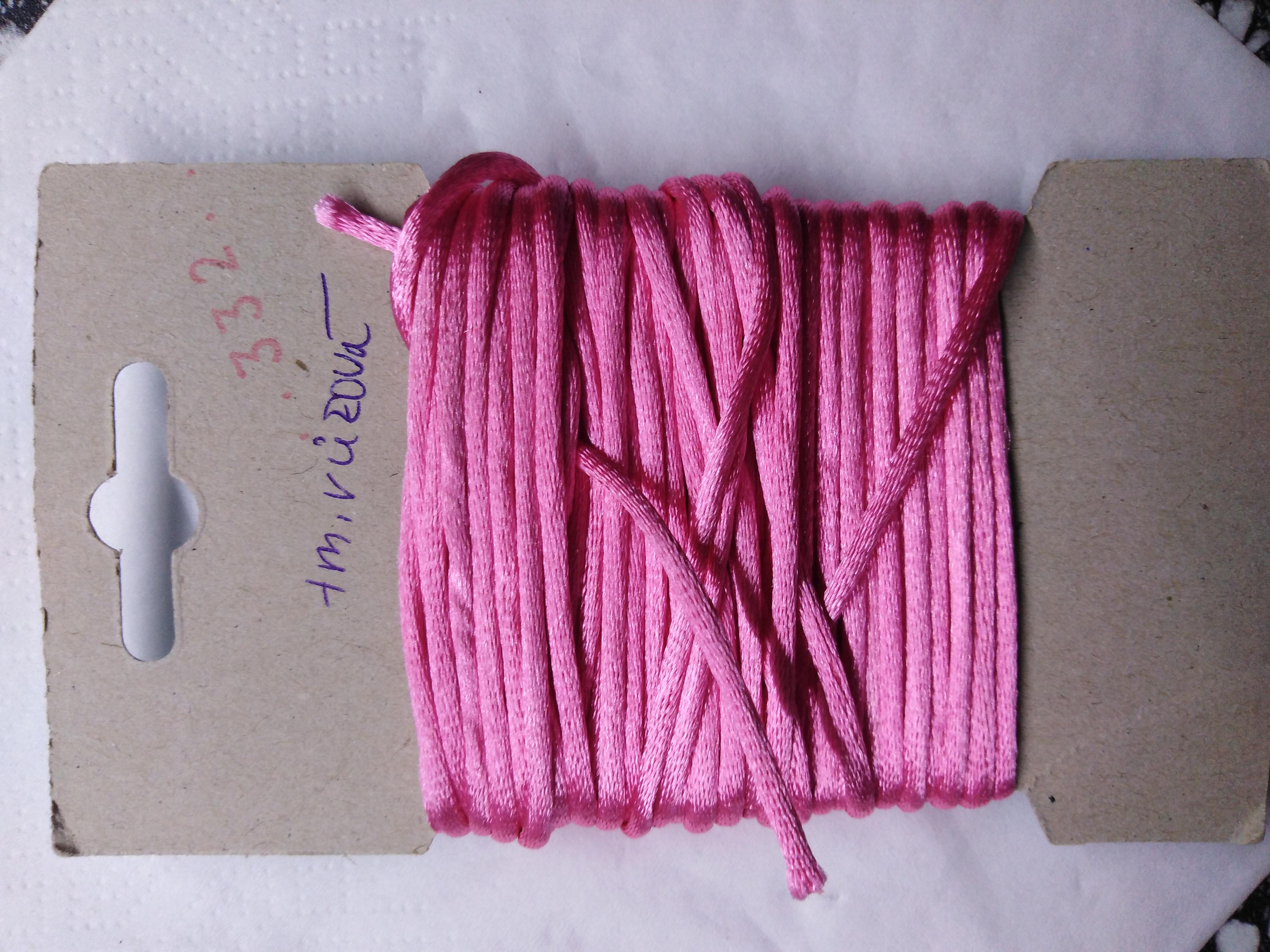 Šňůrka atlasová 2 mm tmavě růžová