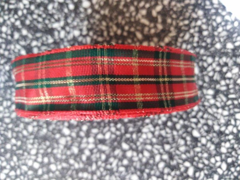 Stuha ozdobná s drátem 25 mm červenozelená