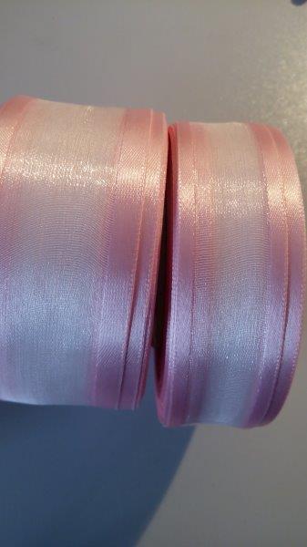 Stuha monofilová s vlascem 40 mm světle růžová