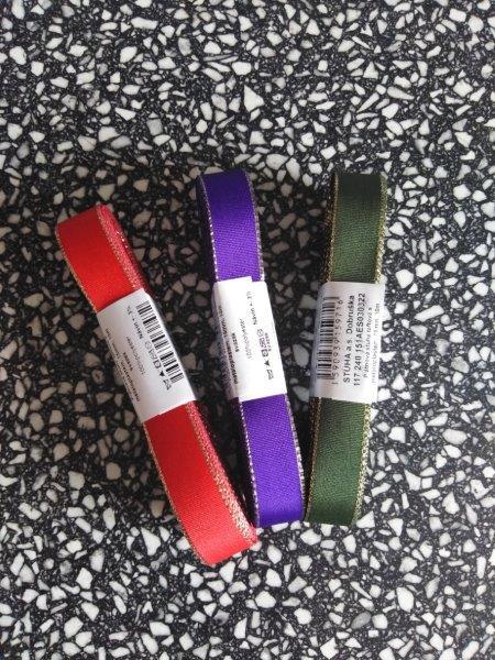 Stuha taftová s rexorem 6 mm fialová+zlato