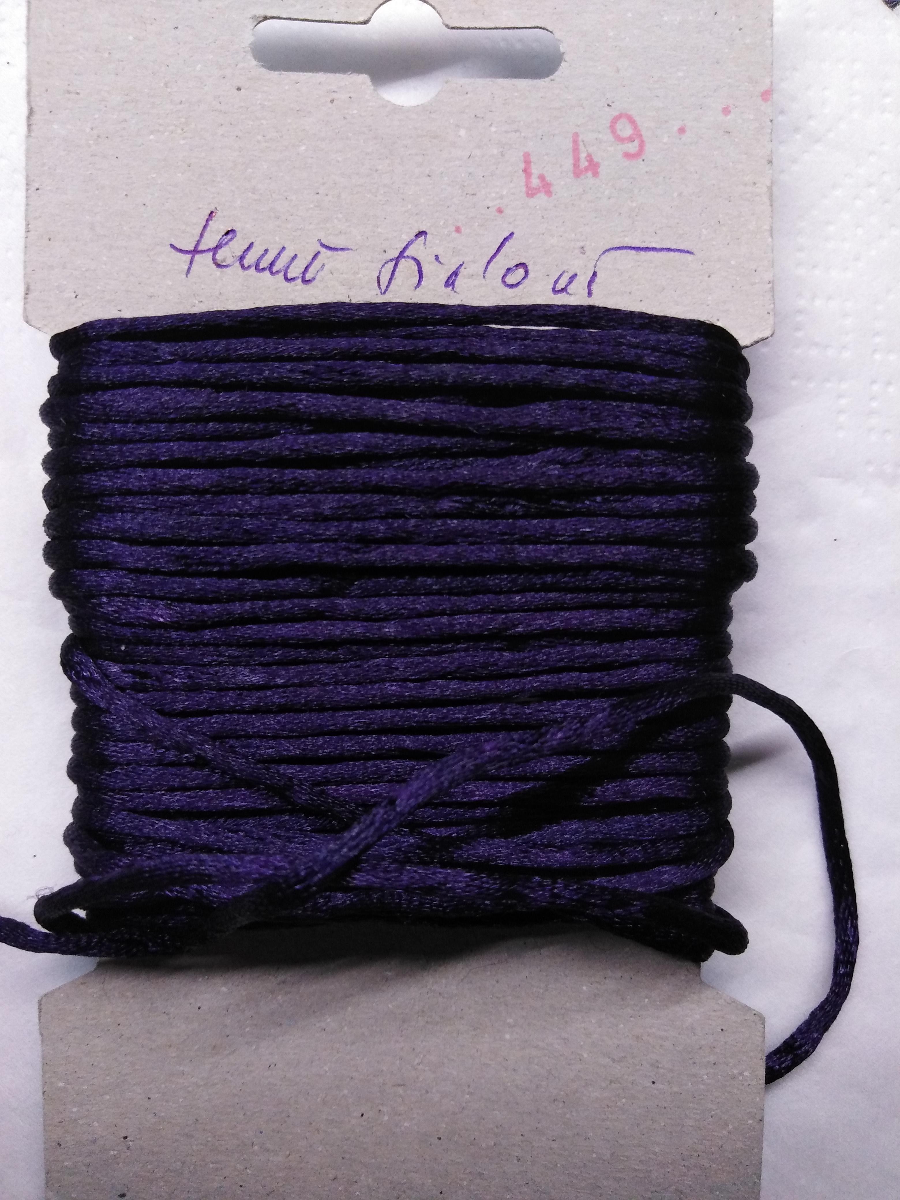 Šňůrka atlasová 2 mm temně fialová