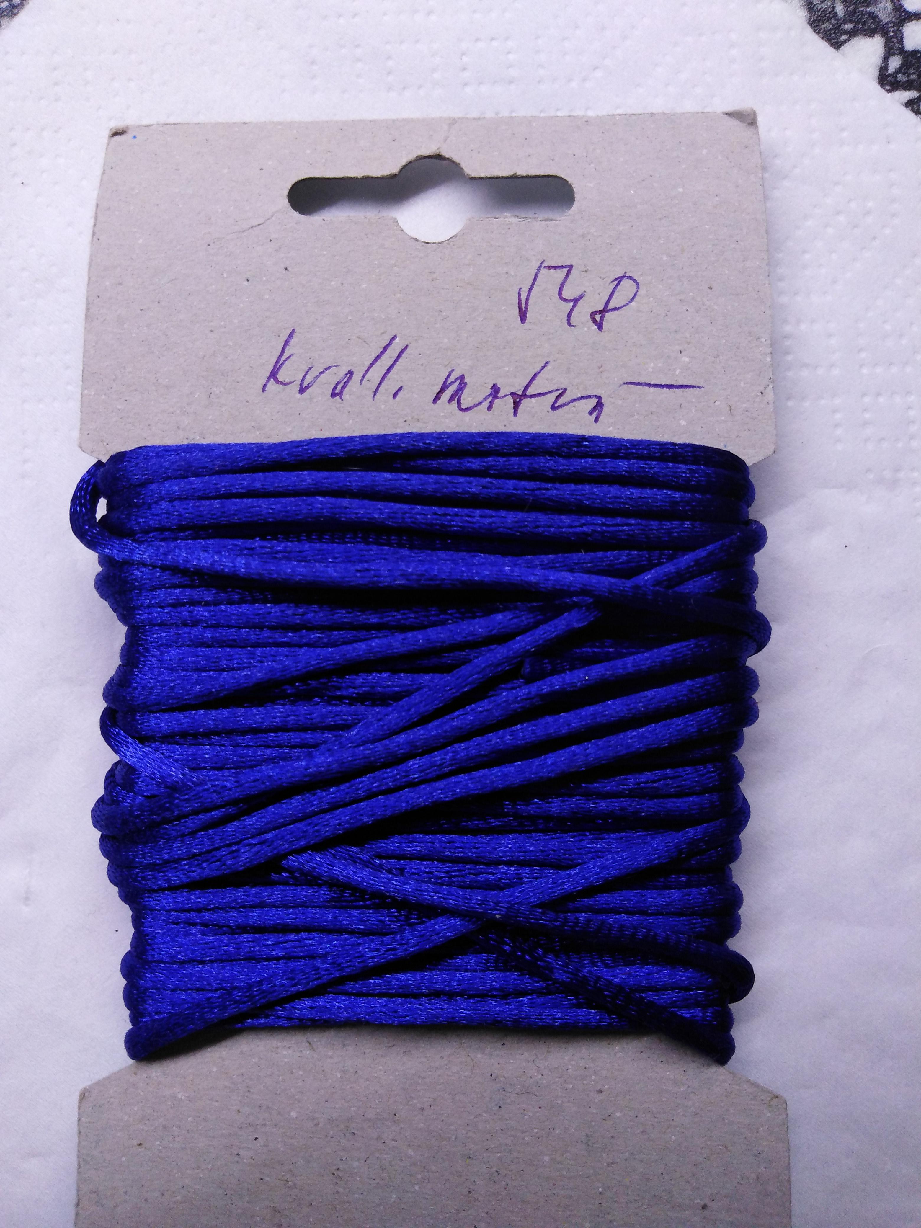 Šňůrka atlasová 2 mm královská modř