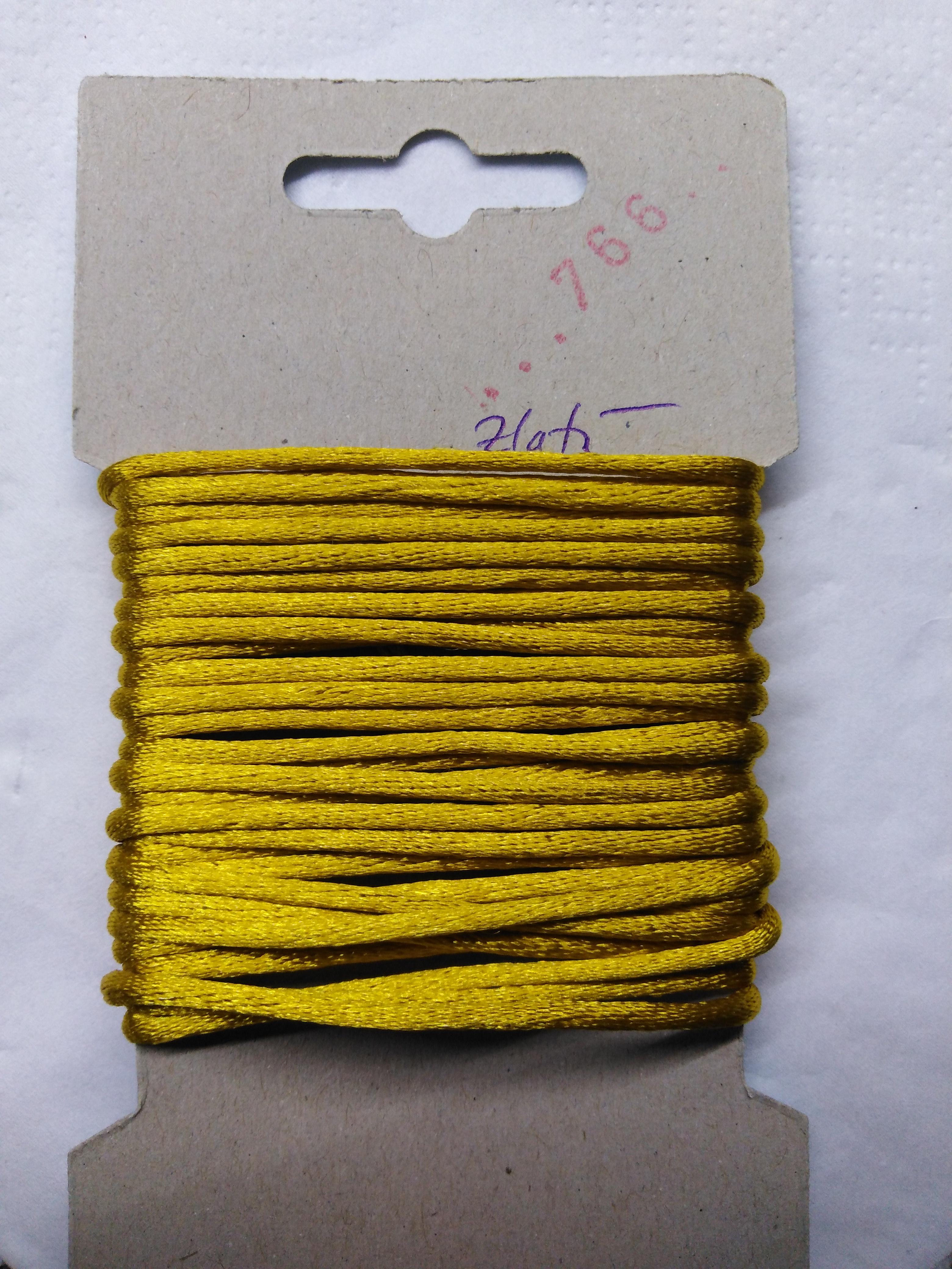 Šňůrka atlasová 2 mm zlatá