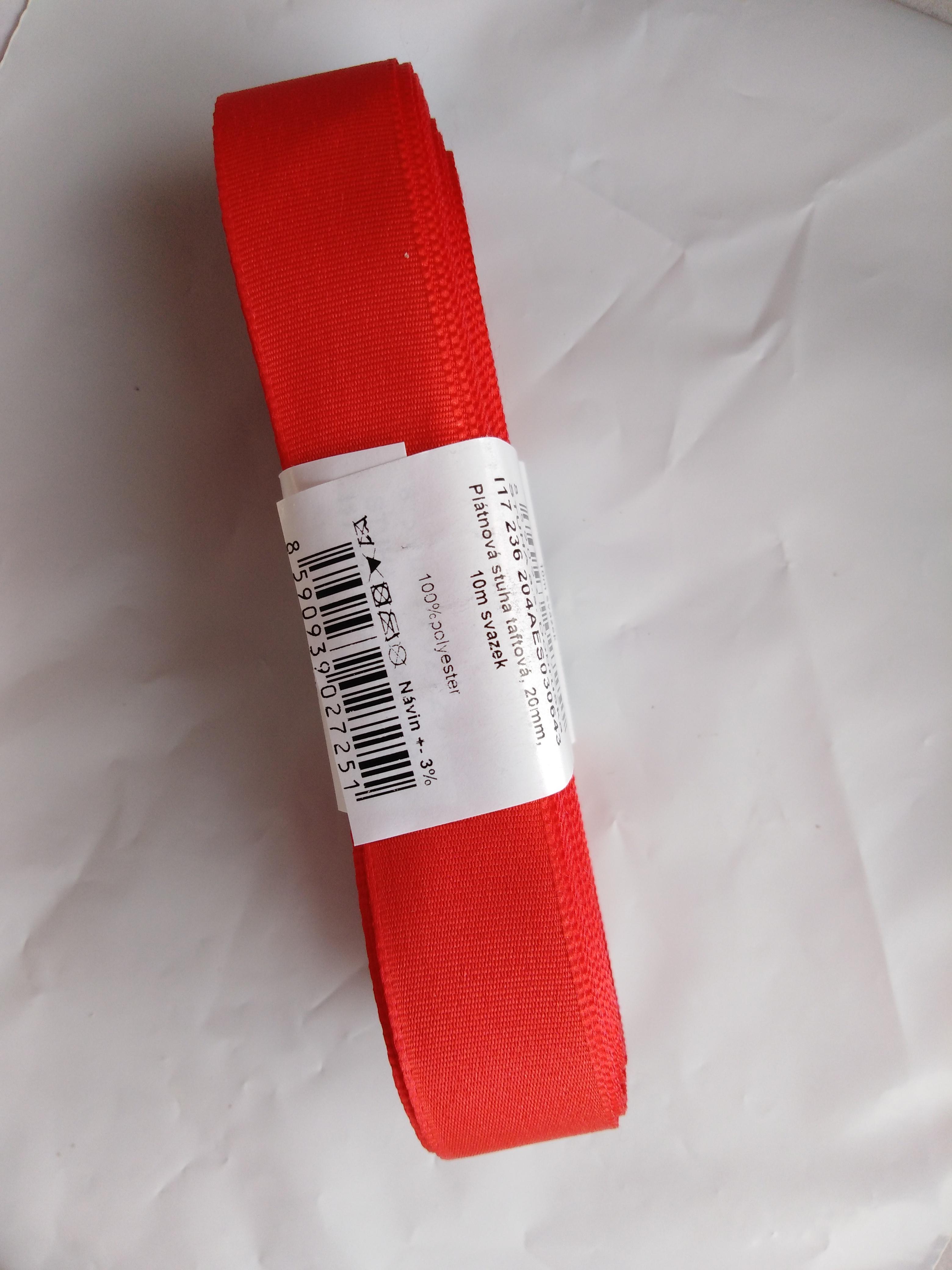 Stuha taftová 20 mm červená