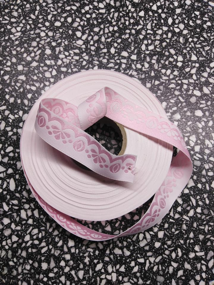 Stuha zoubková 20 mm světle růžová