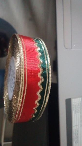 Stuha s metaloplastem a drátem 25 mm červenozelená