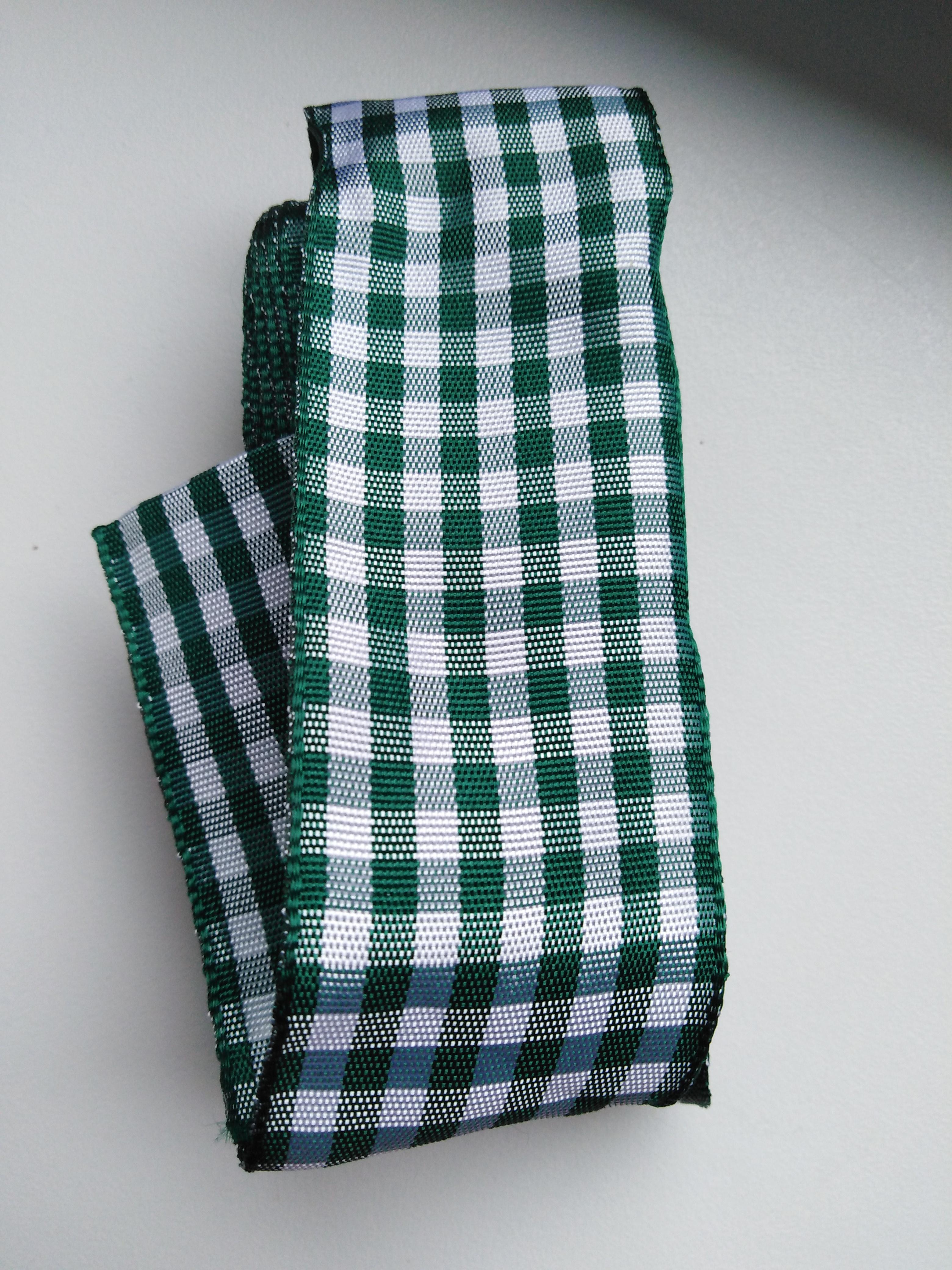 Stuha kostka žakár 40 mm tmavě zelená