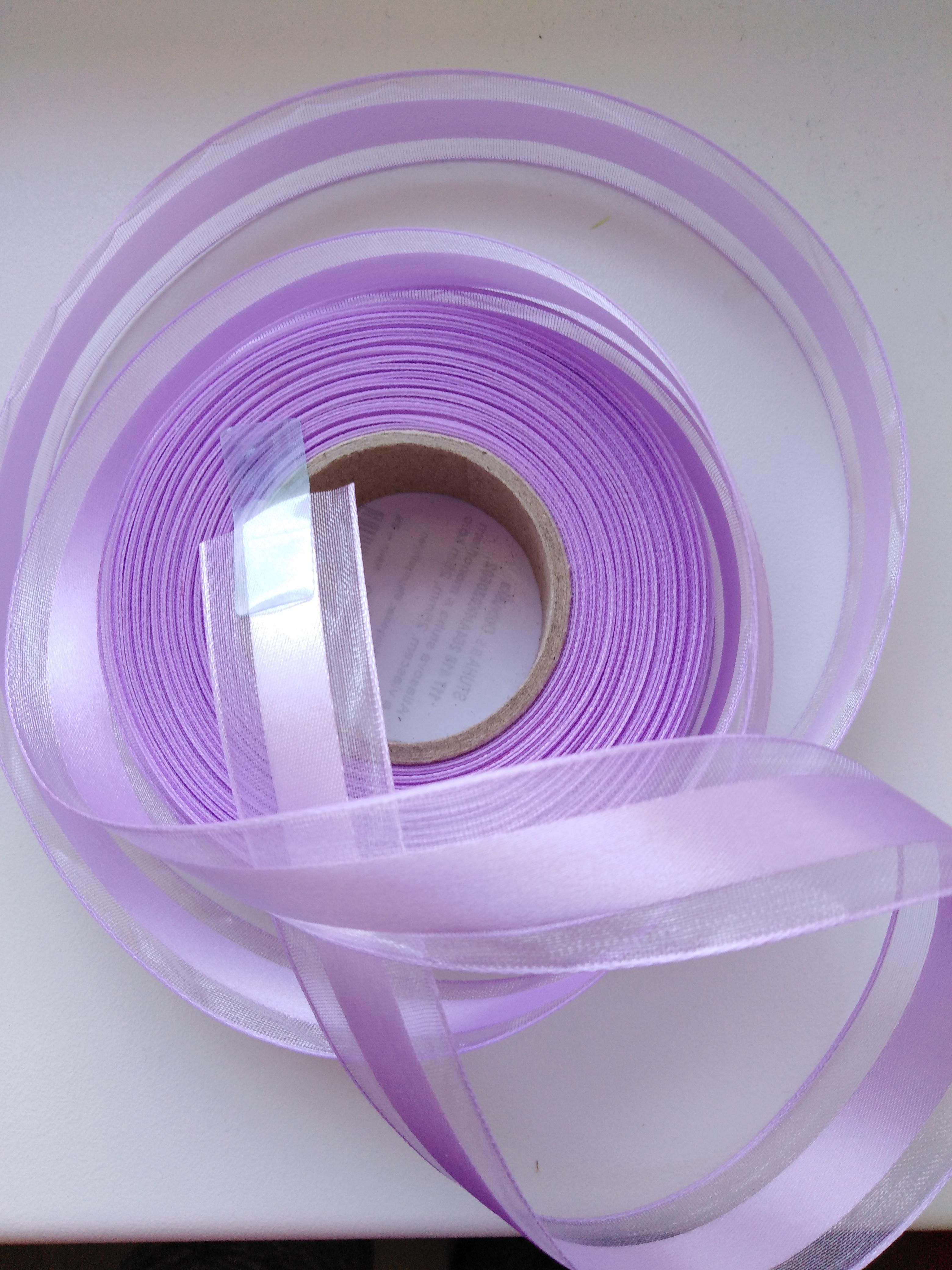 Stuha atlasová s monofilem 25 mm světle fialová