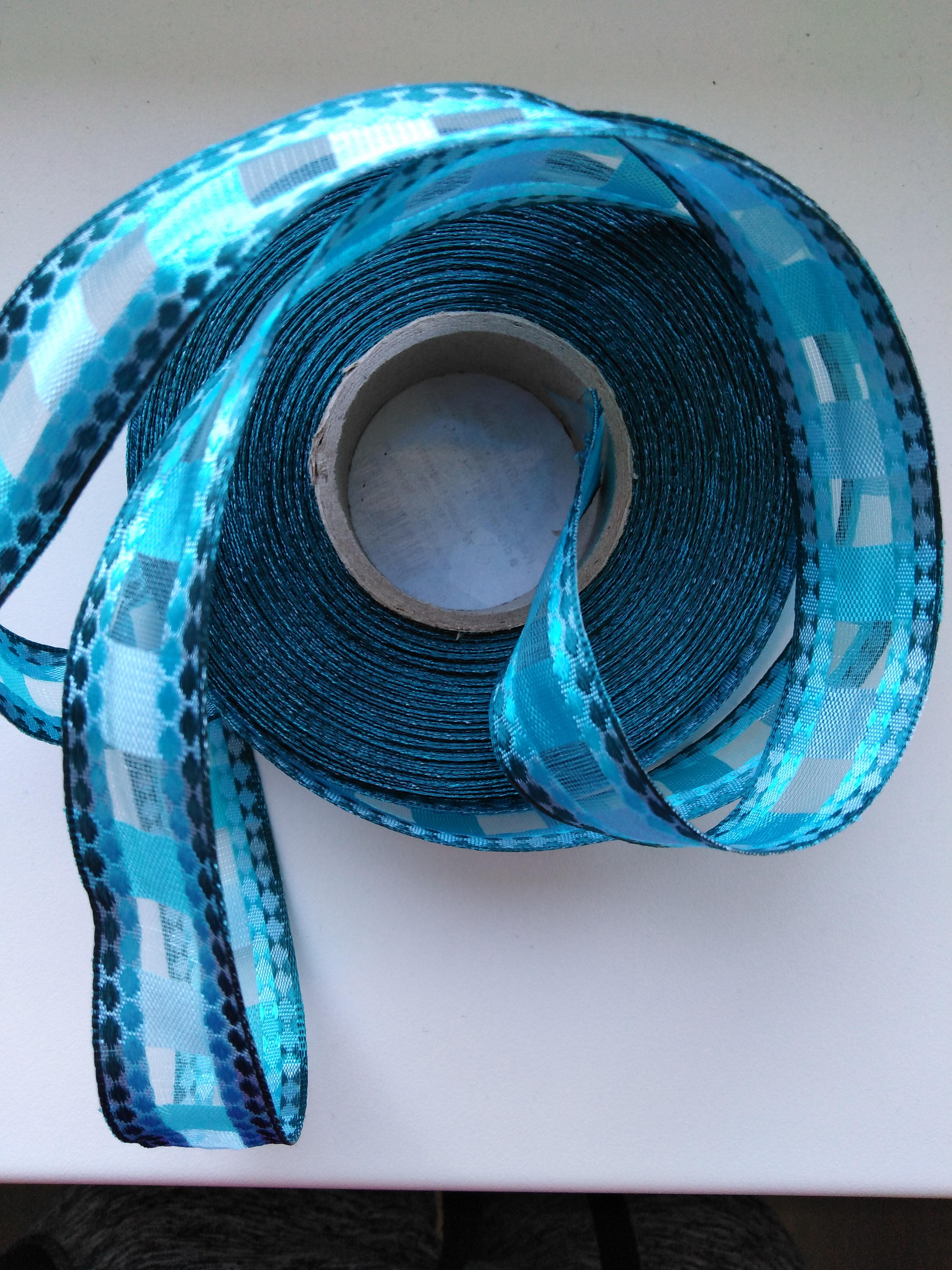Stuha monofilová s drátem 25 mm modrá