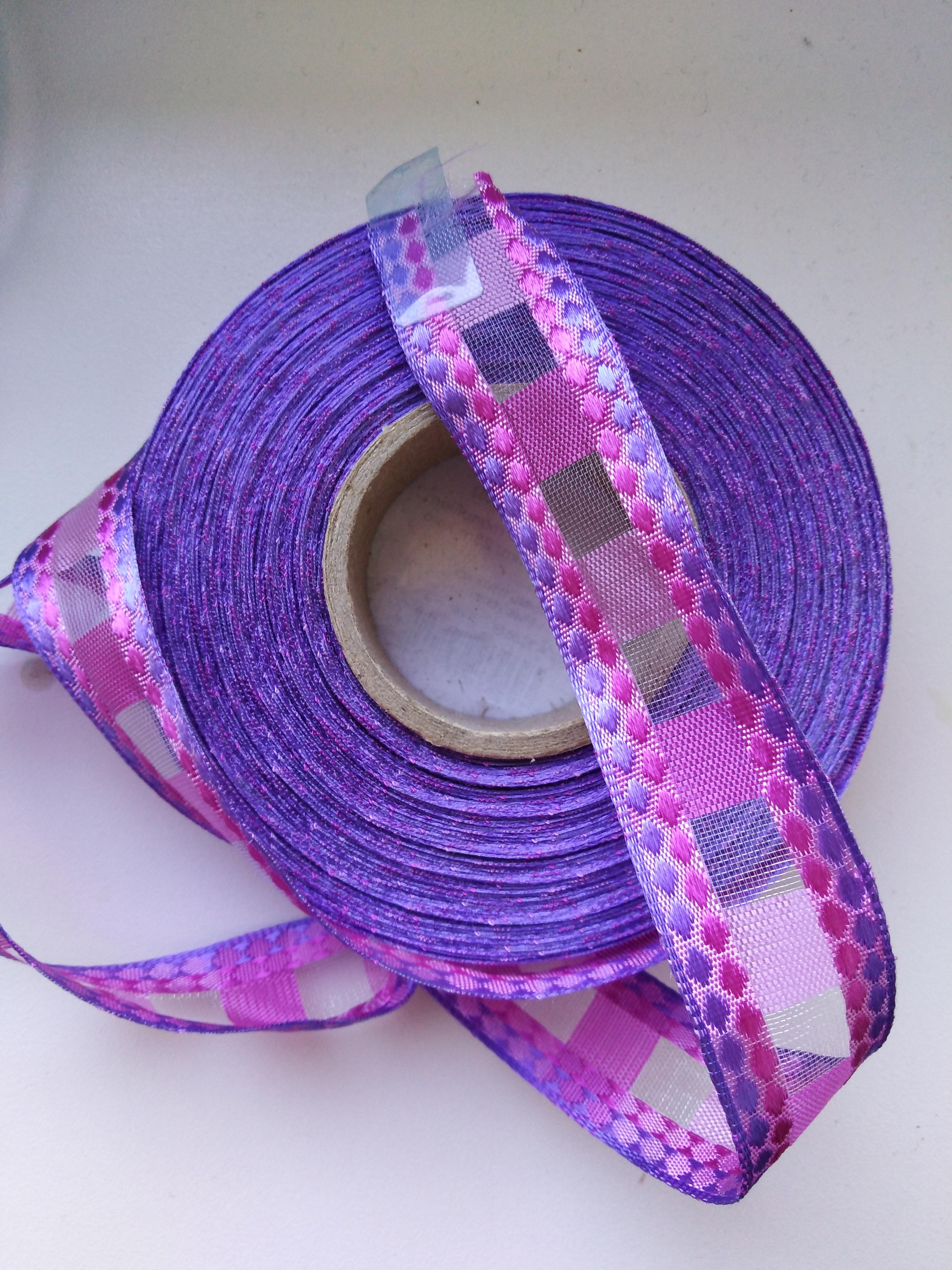Stuha monofilová s drátem 25 mm růžovo fialová