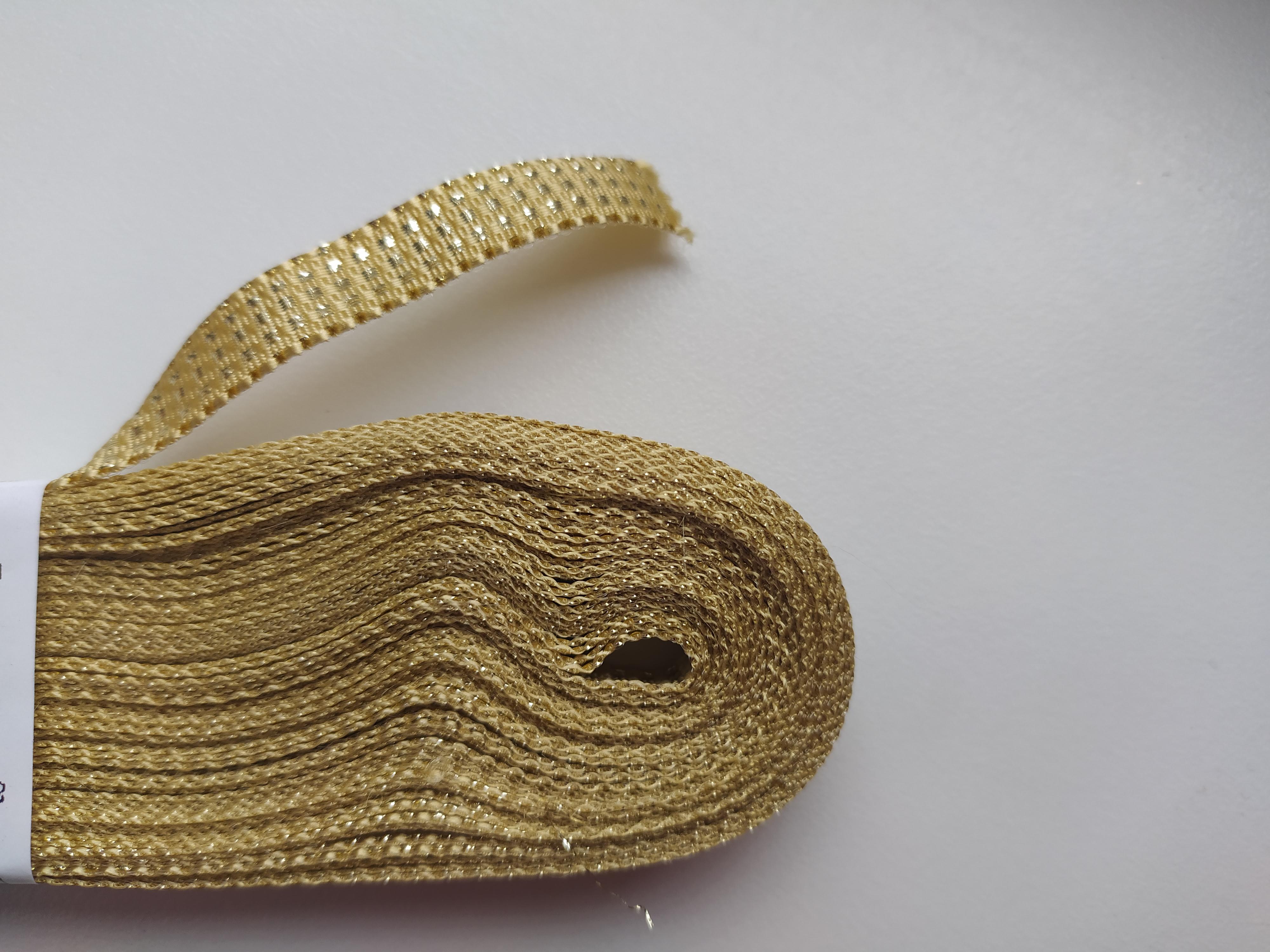 Stuha plátnová s MTP 10 mm zlatozlatá