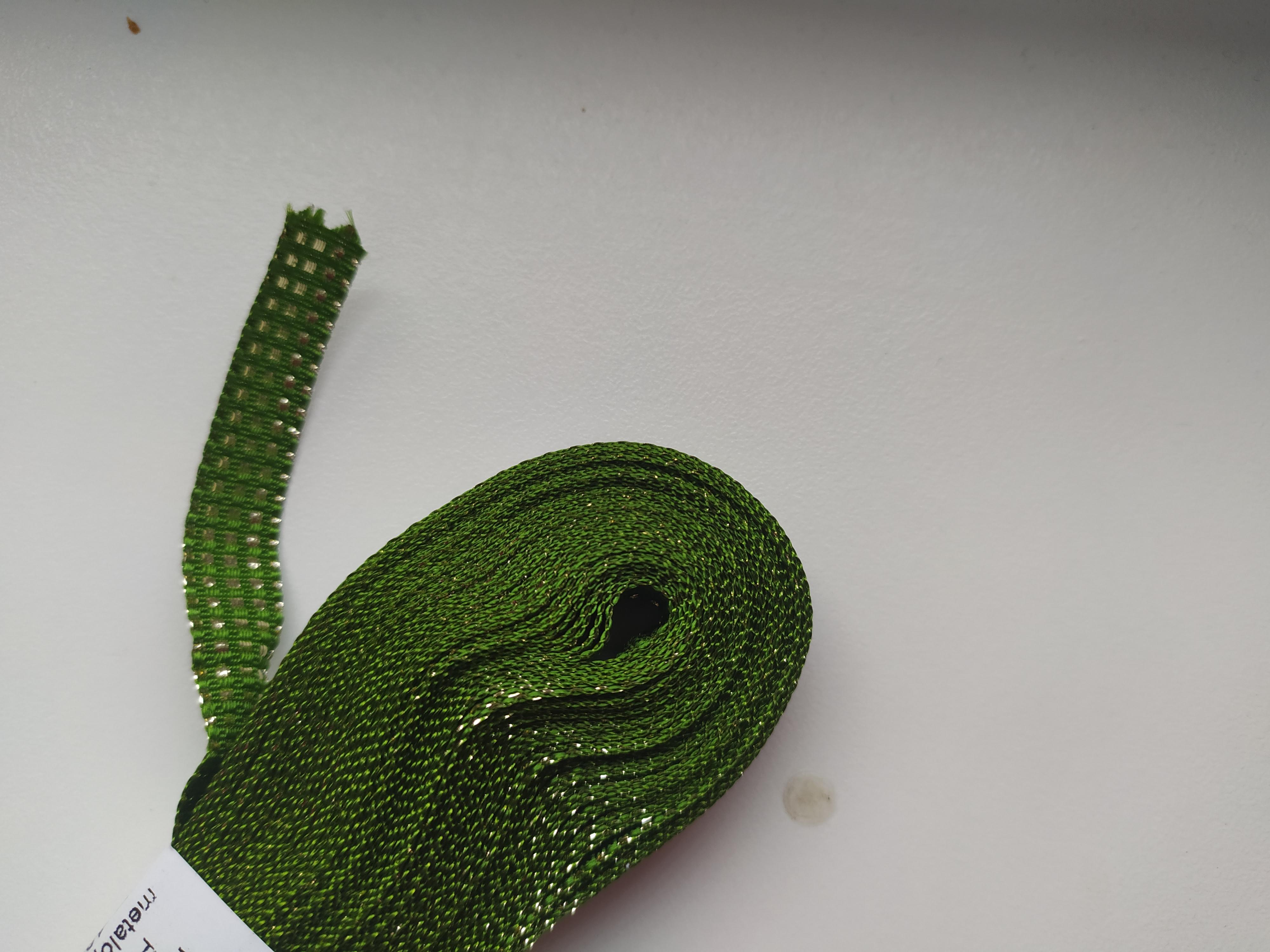 Stuha plátnová s MTP 10 mm zelenozlatá