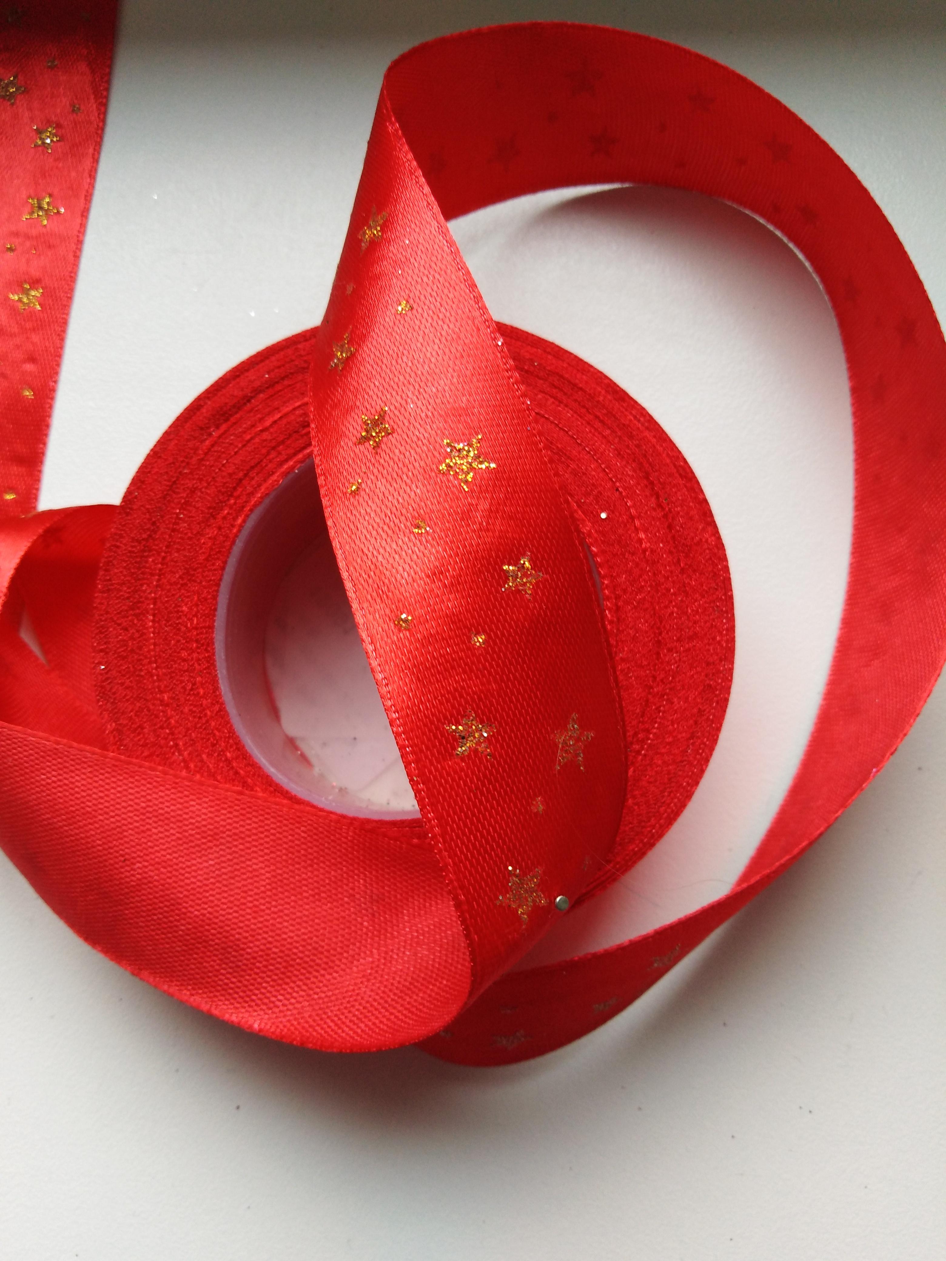 Saténová stuha tisk hvězdy 25 mm červená